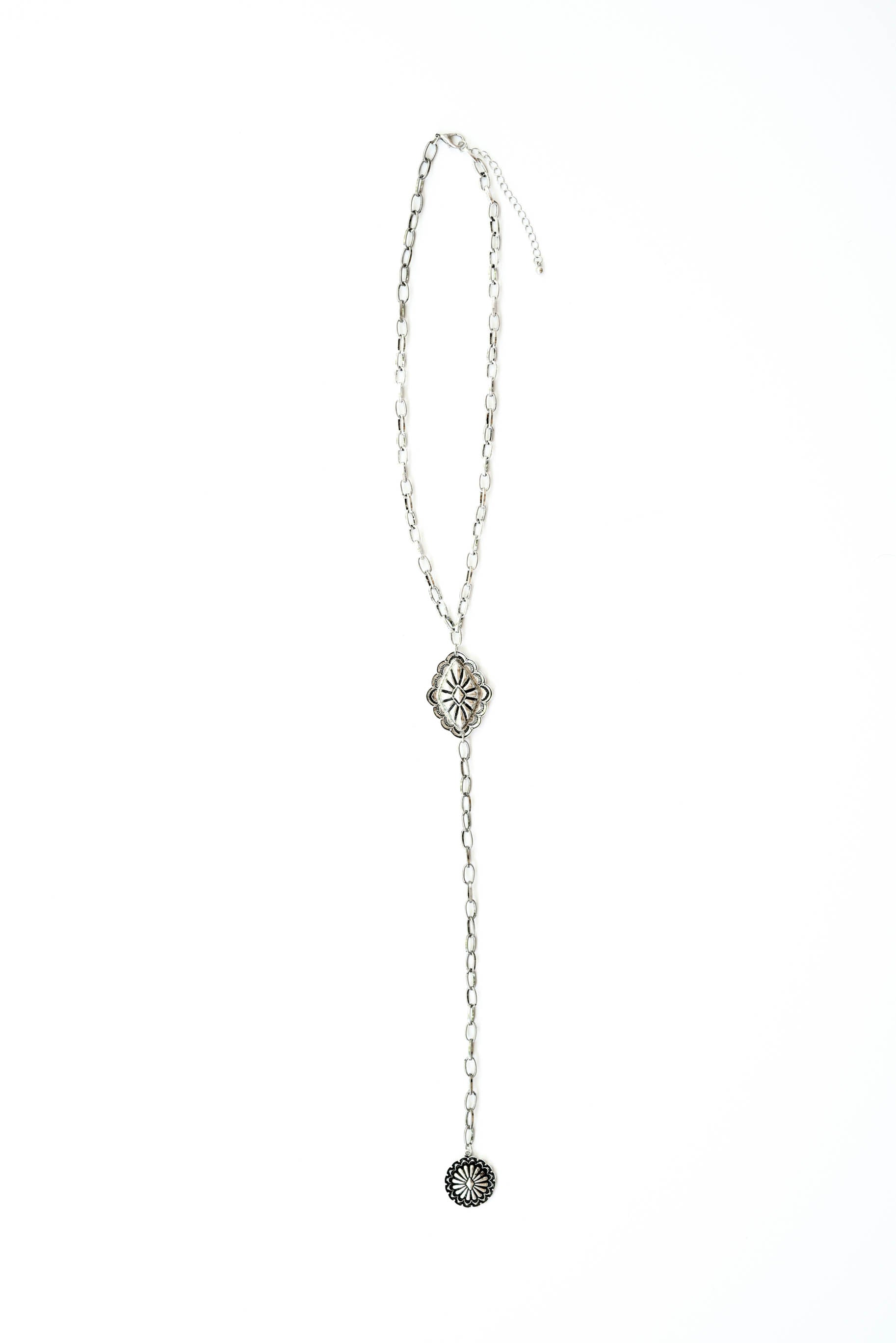 20in Silver Lariat Style Necklace with Silver Conchos