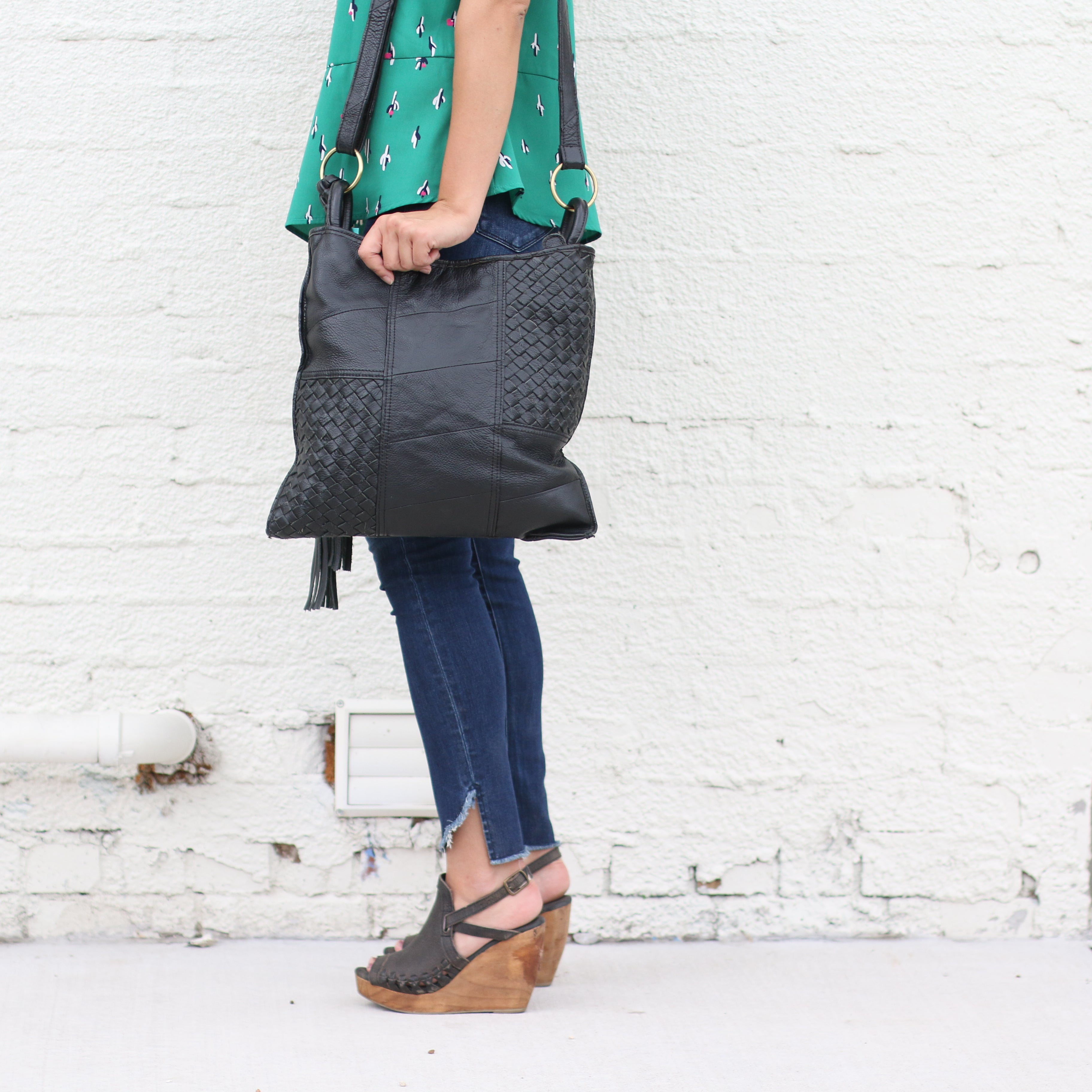Black Leather Weave Shoulder Bag