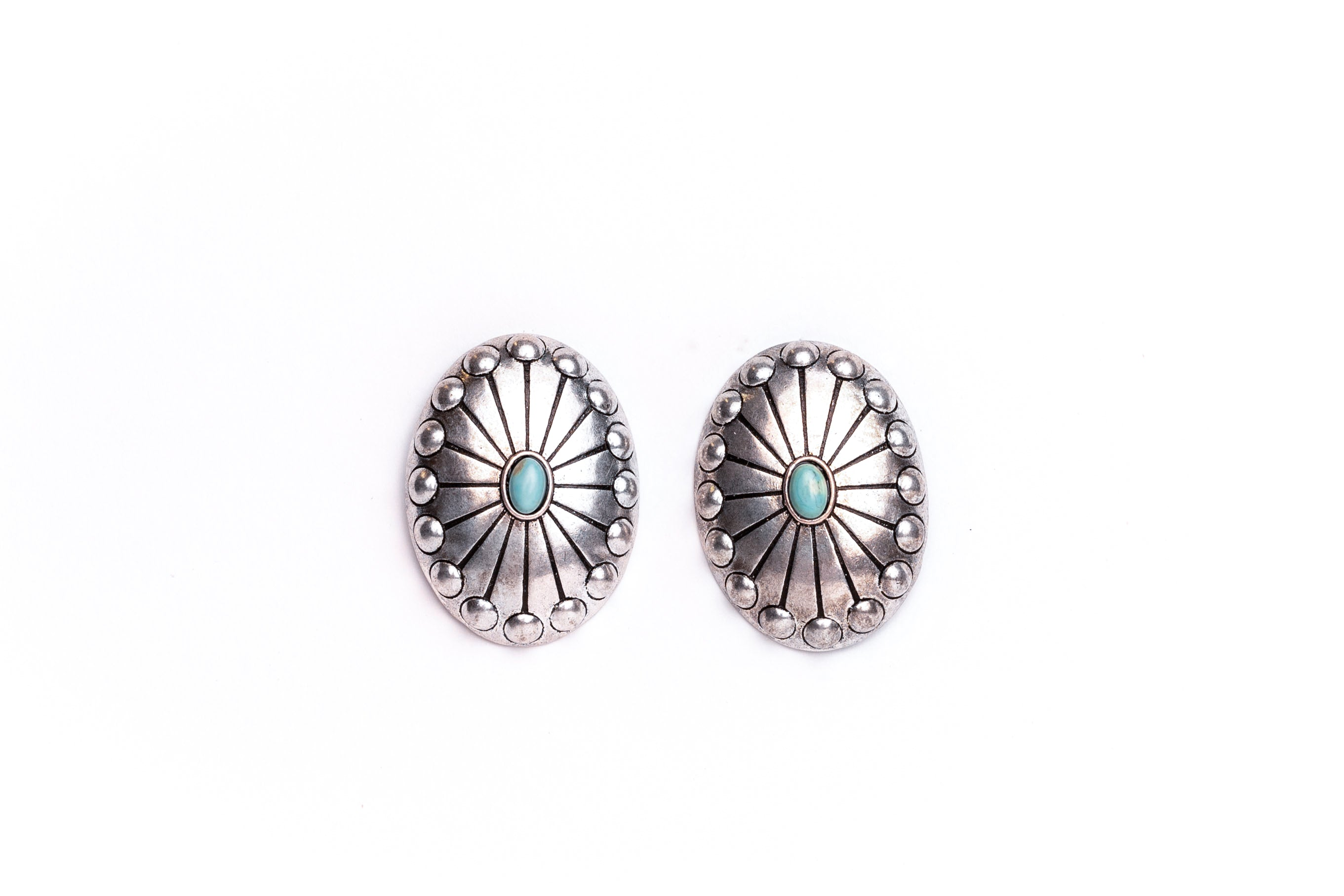 Studded Concho Post Earring with Turquoise