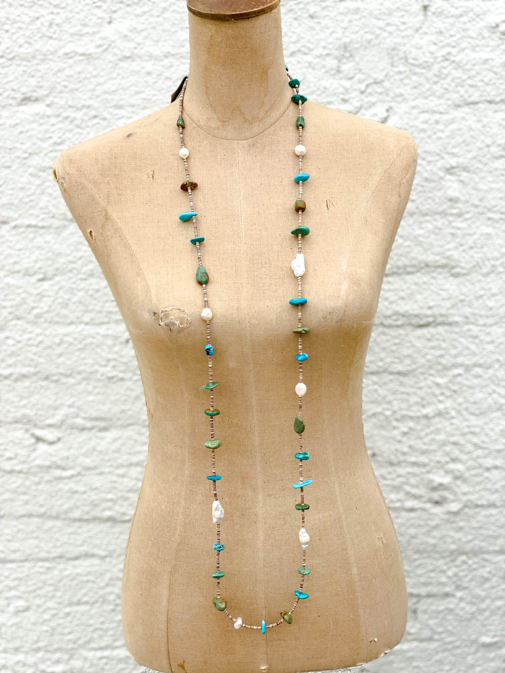 52in Multi Turquoise Pearl and Heishe Long Necklace