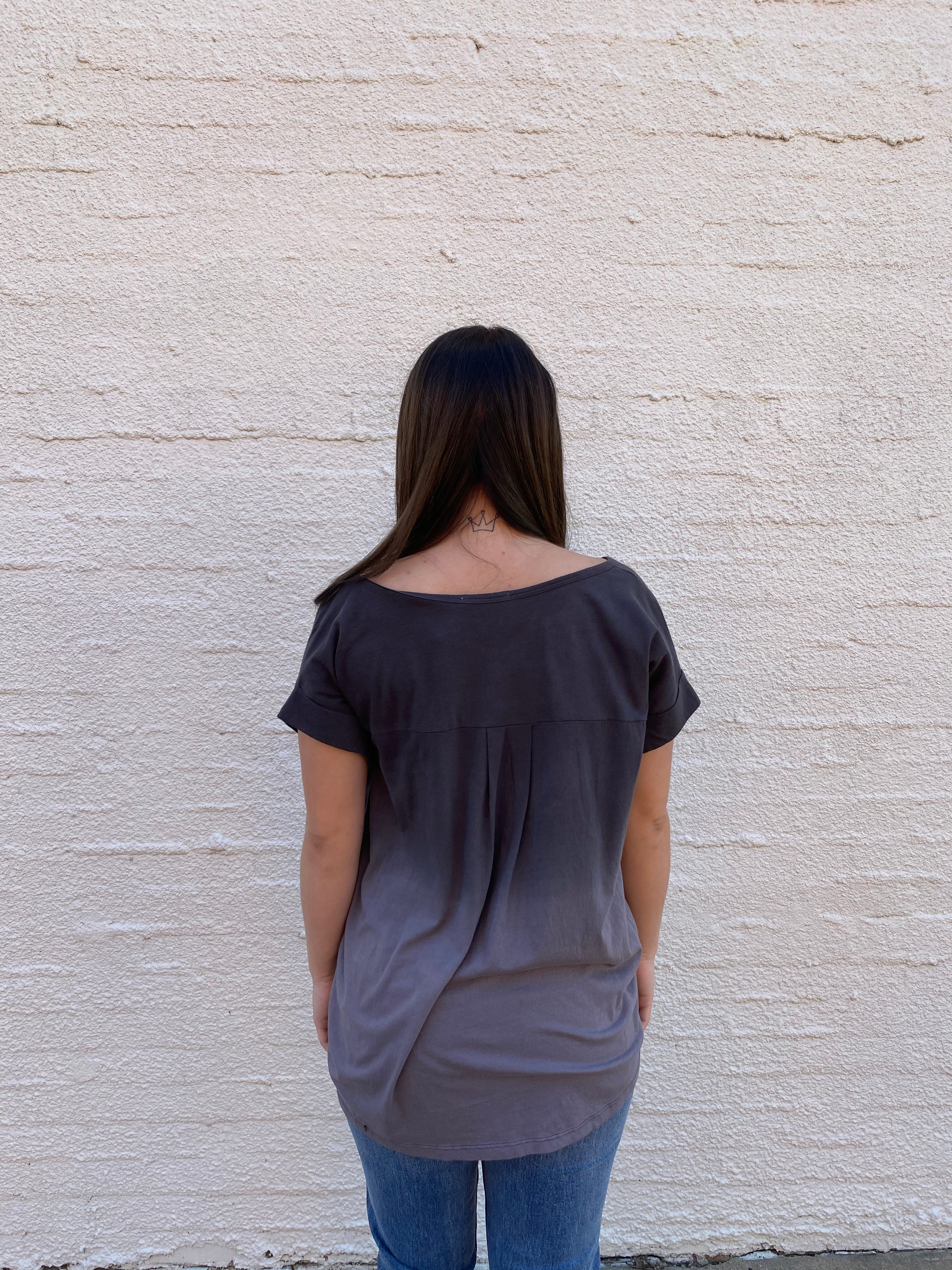 Black Ombre Short Sleeve Top