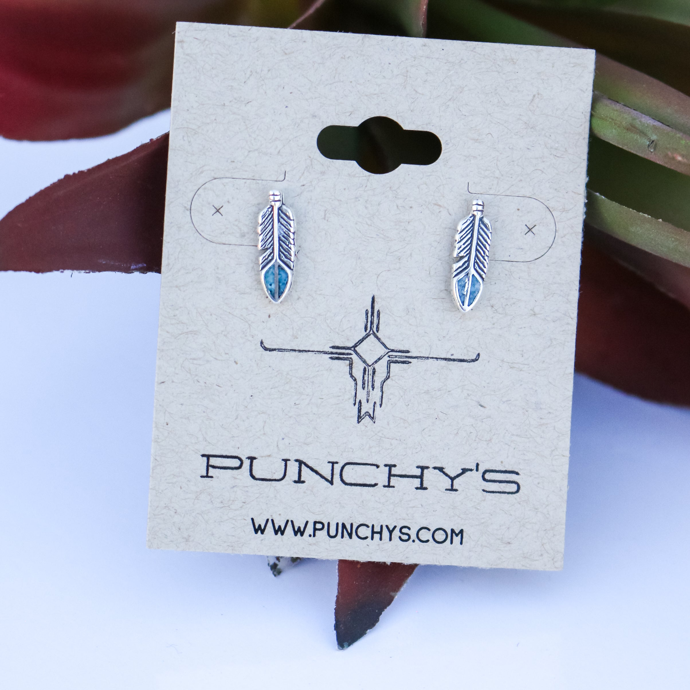 Small Feather Studs with Turquoise