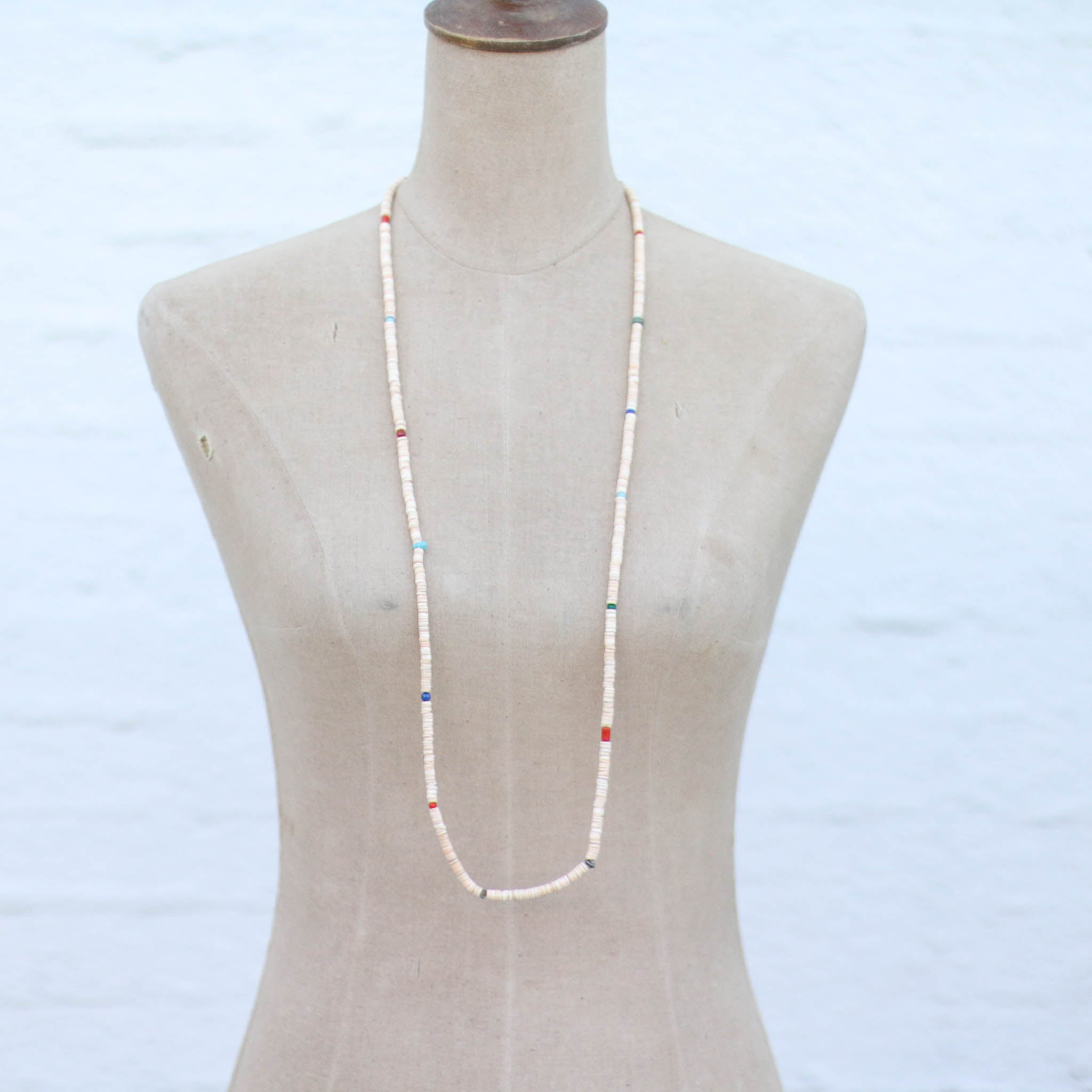 Multi Melon Shell Heishe Necklace 50""