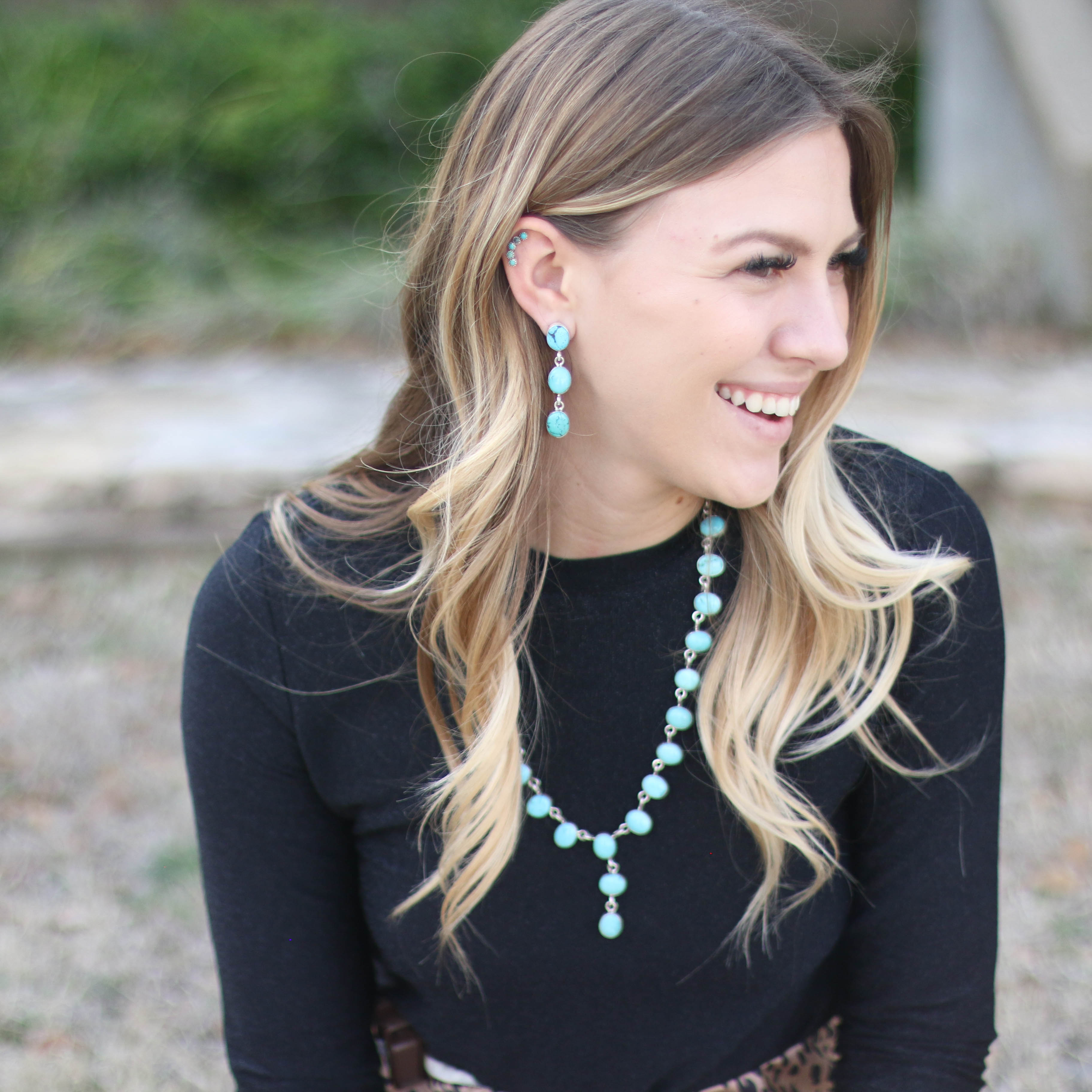 Turquoise Linear Drop Necklace Earring Set
