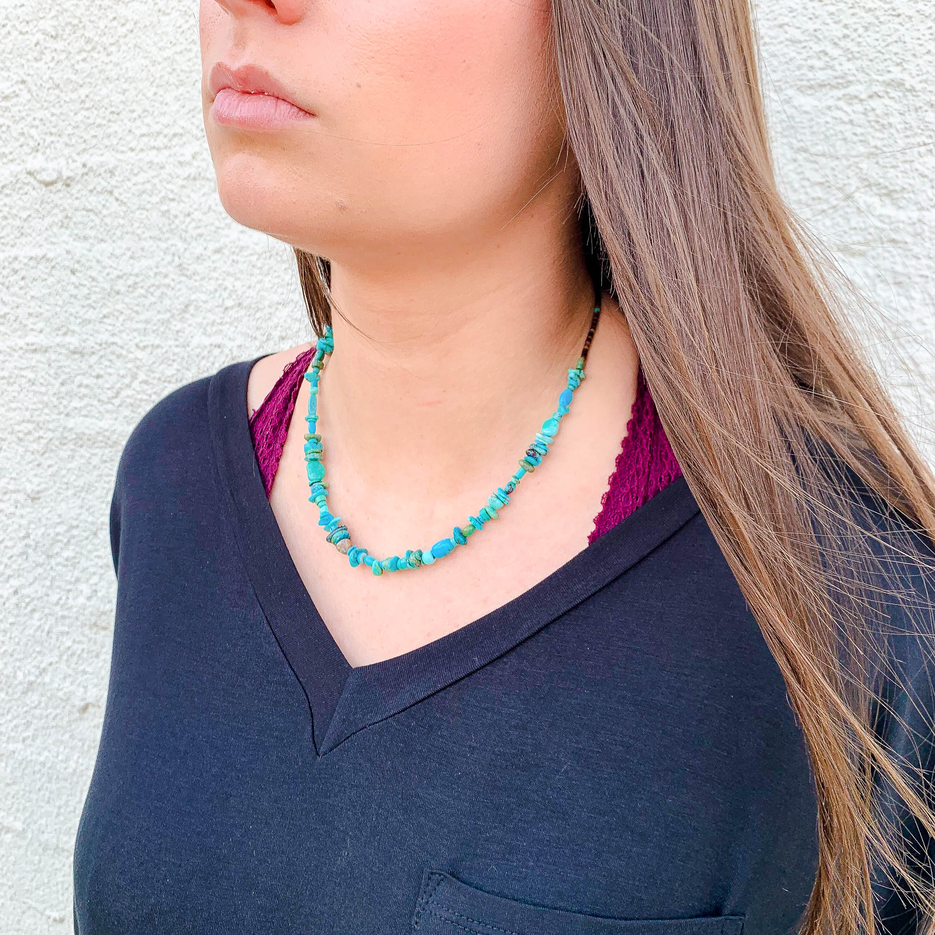 18in Chipped Turquoise Necklace