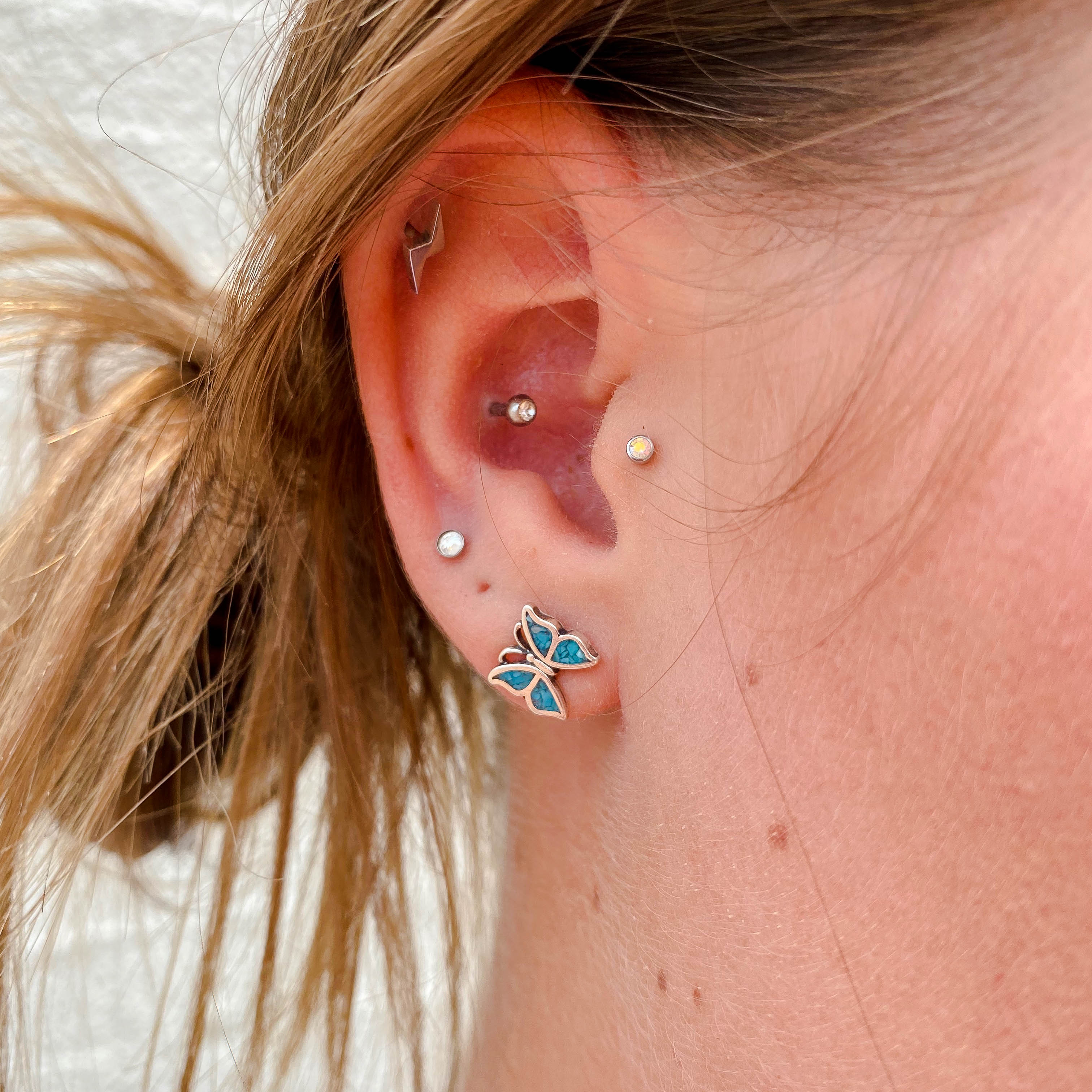 Turquoise Butterfly Stud
