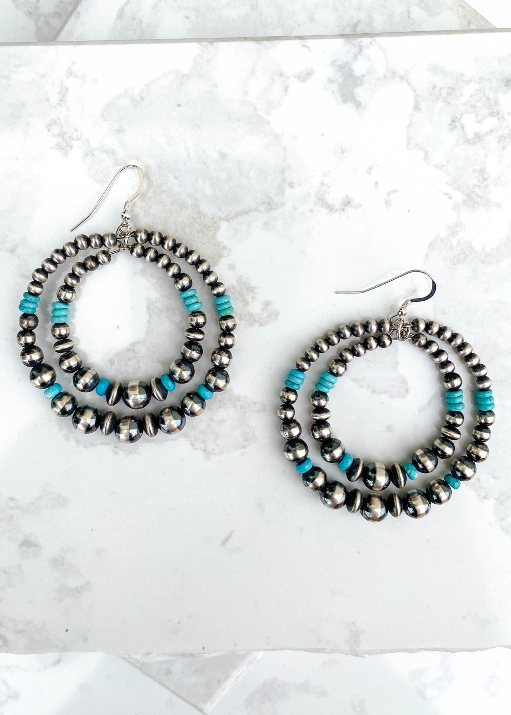 Double Hoop Earrings with Turquoise and Multi-Sized Navajo Pearls