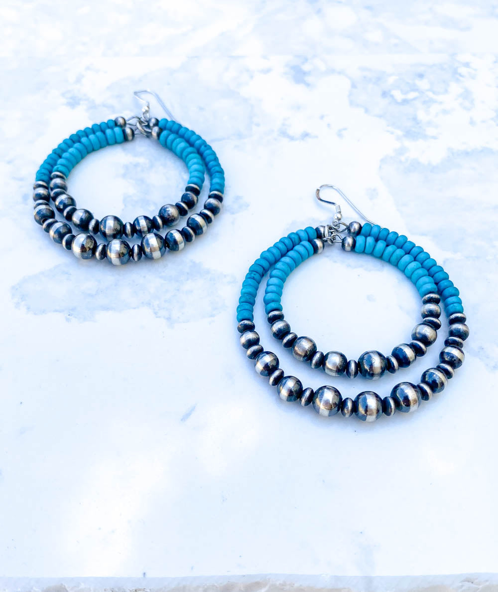 Double Round Navajo Pearl Hoops with Turquoise Earrings