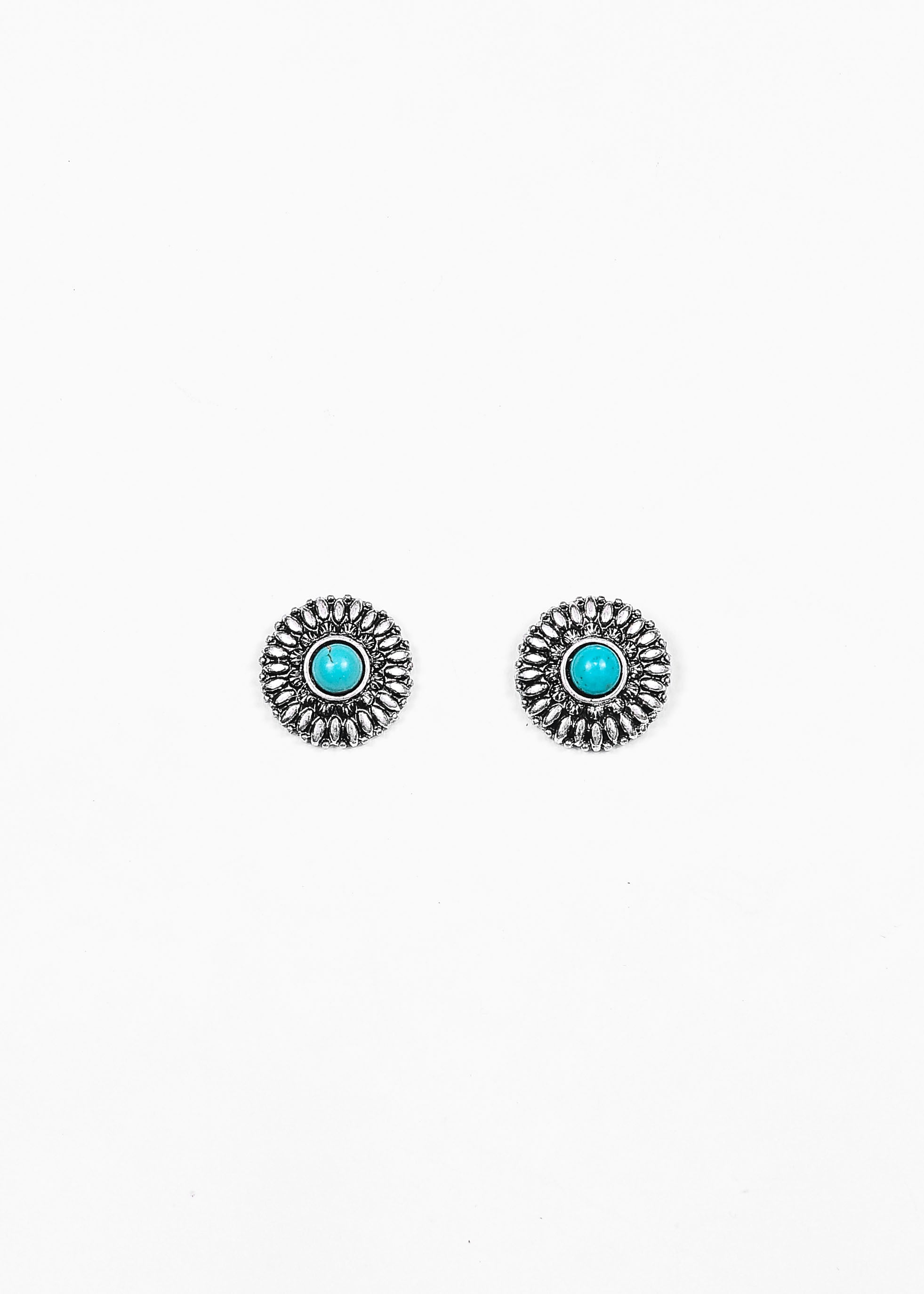 Faux Silver Flower Stud with Turquoise