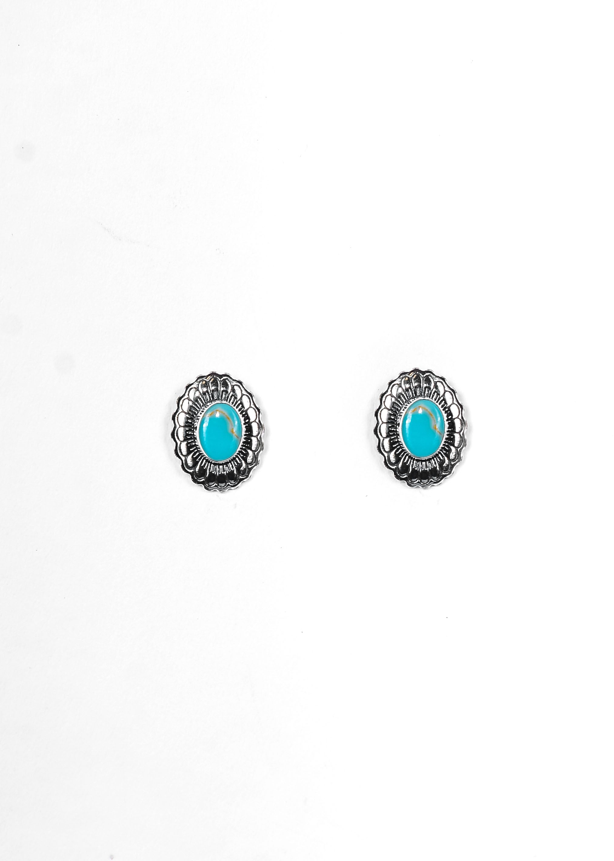 Faux Silver Flower Concho Stud with Turquoise