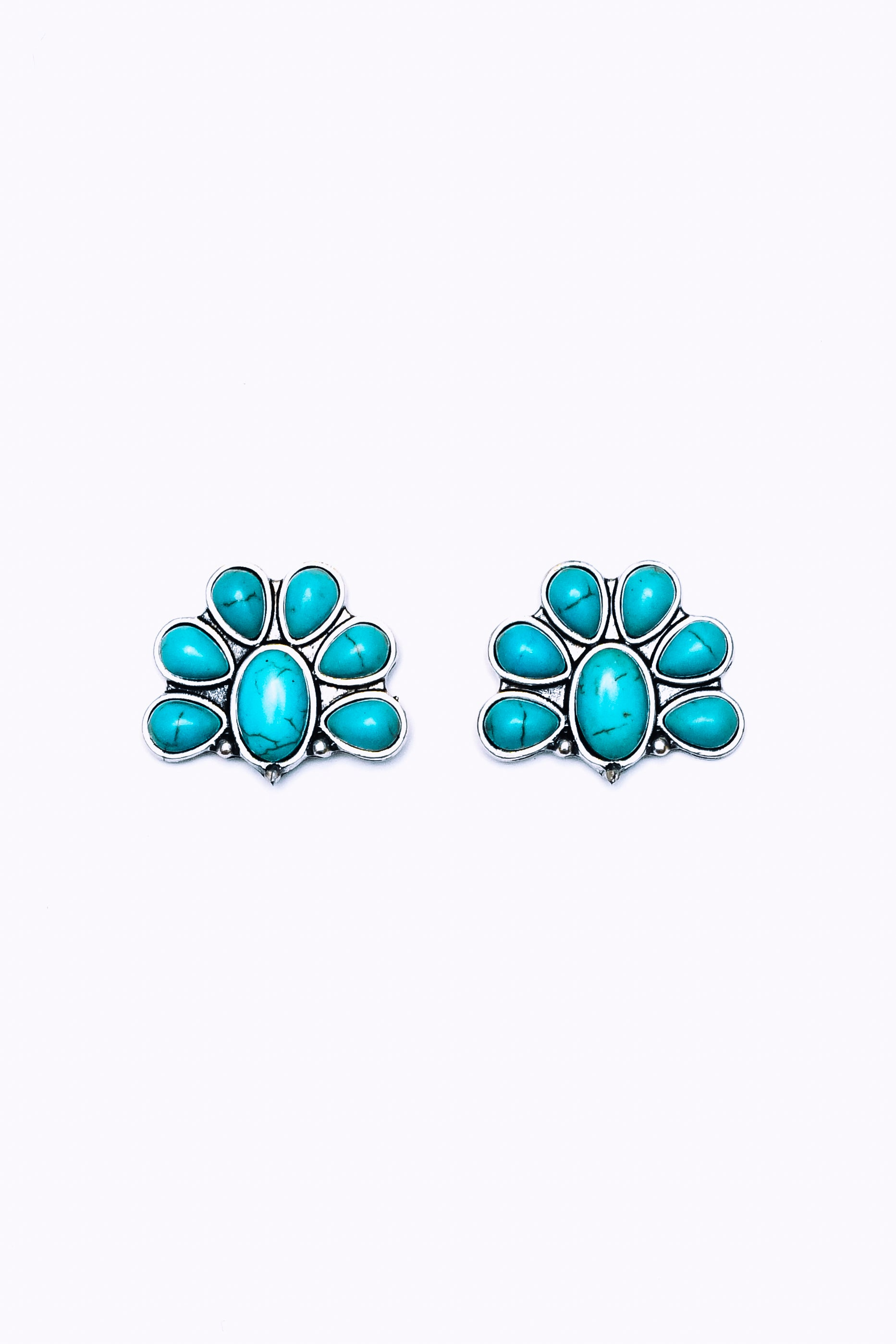 Half Flower Turquoise Post Earring