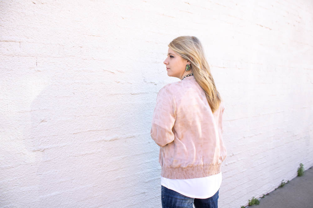 Blush Leopard Bomber Jacket