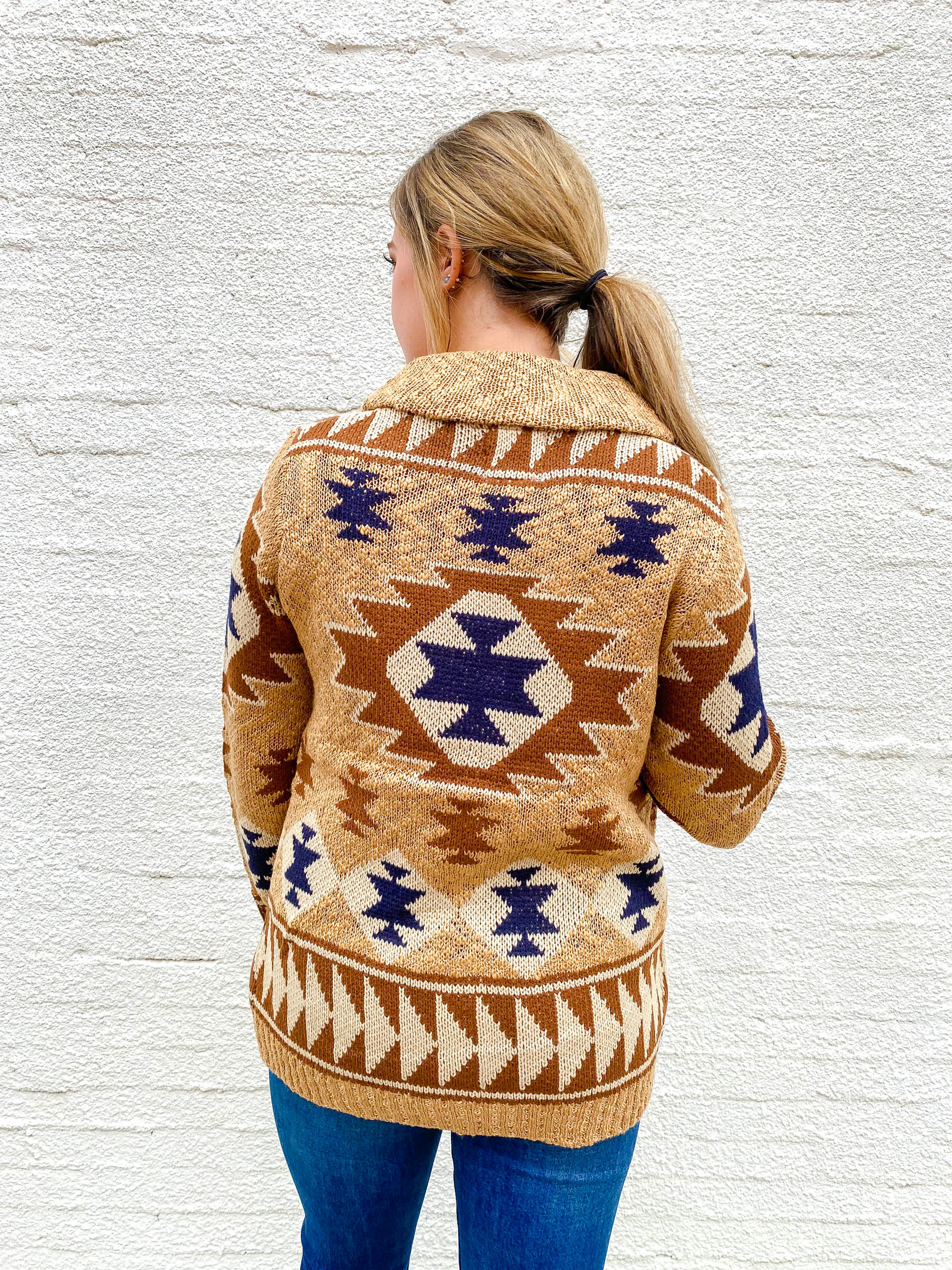 Oatmeal and Navy Aztec Cardigan