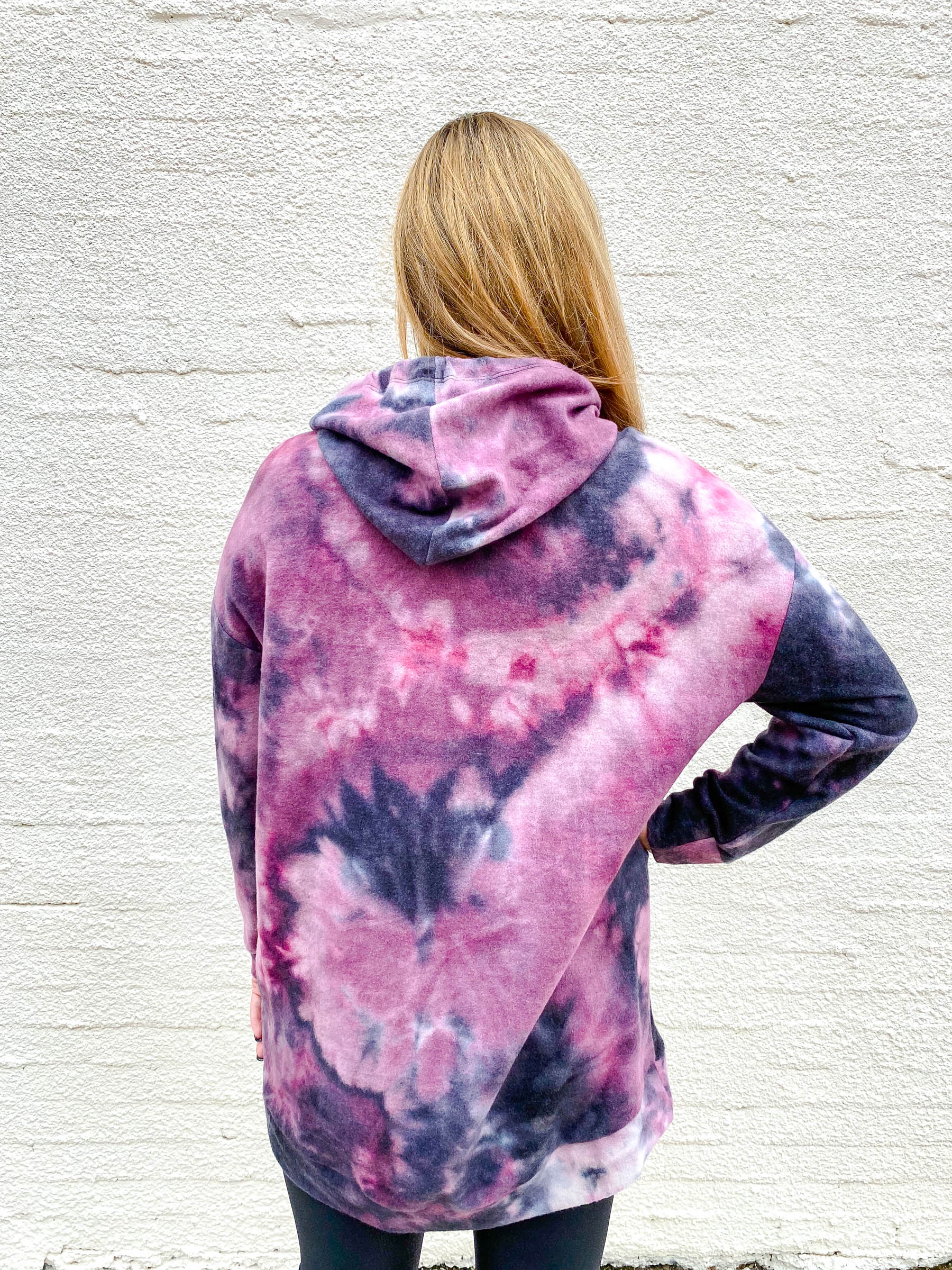 Purple and Black Acid Wash Hoodie