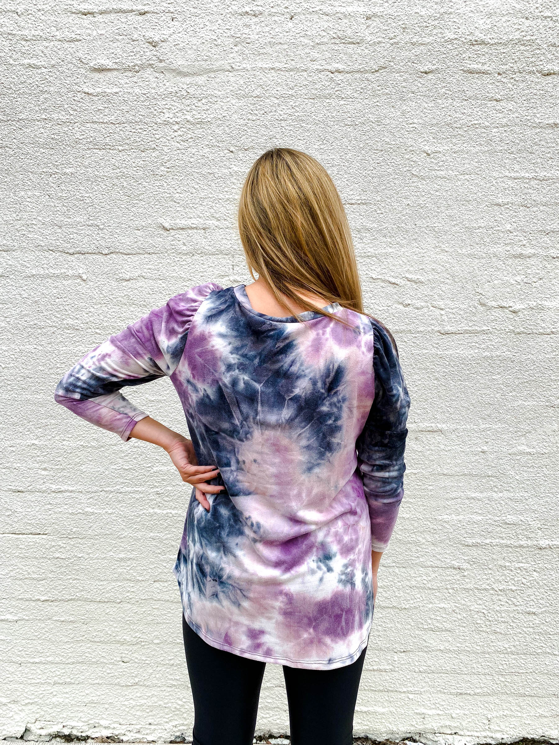 Purple and Black Acid Wash Top