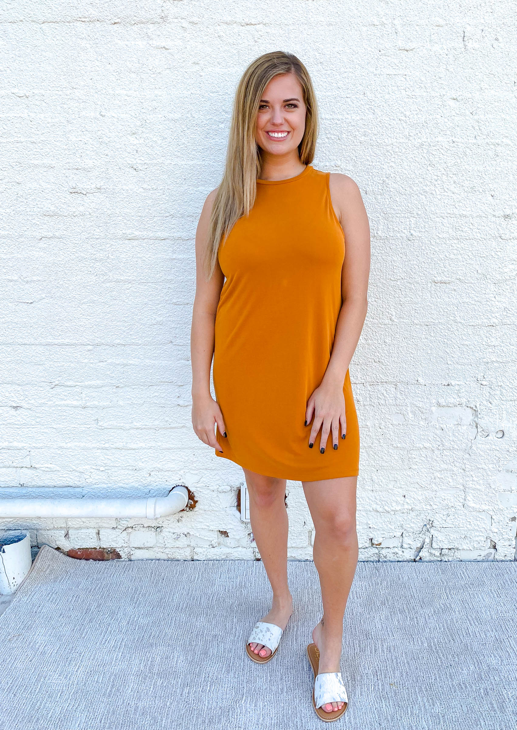 High Neck Basic Dress Golden Hour