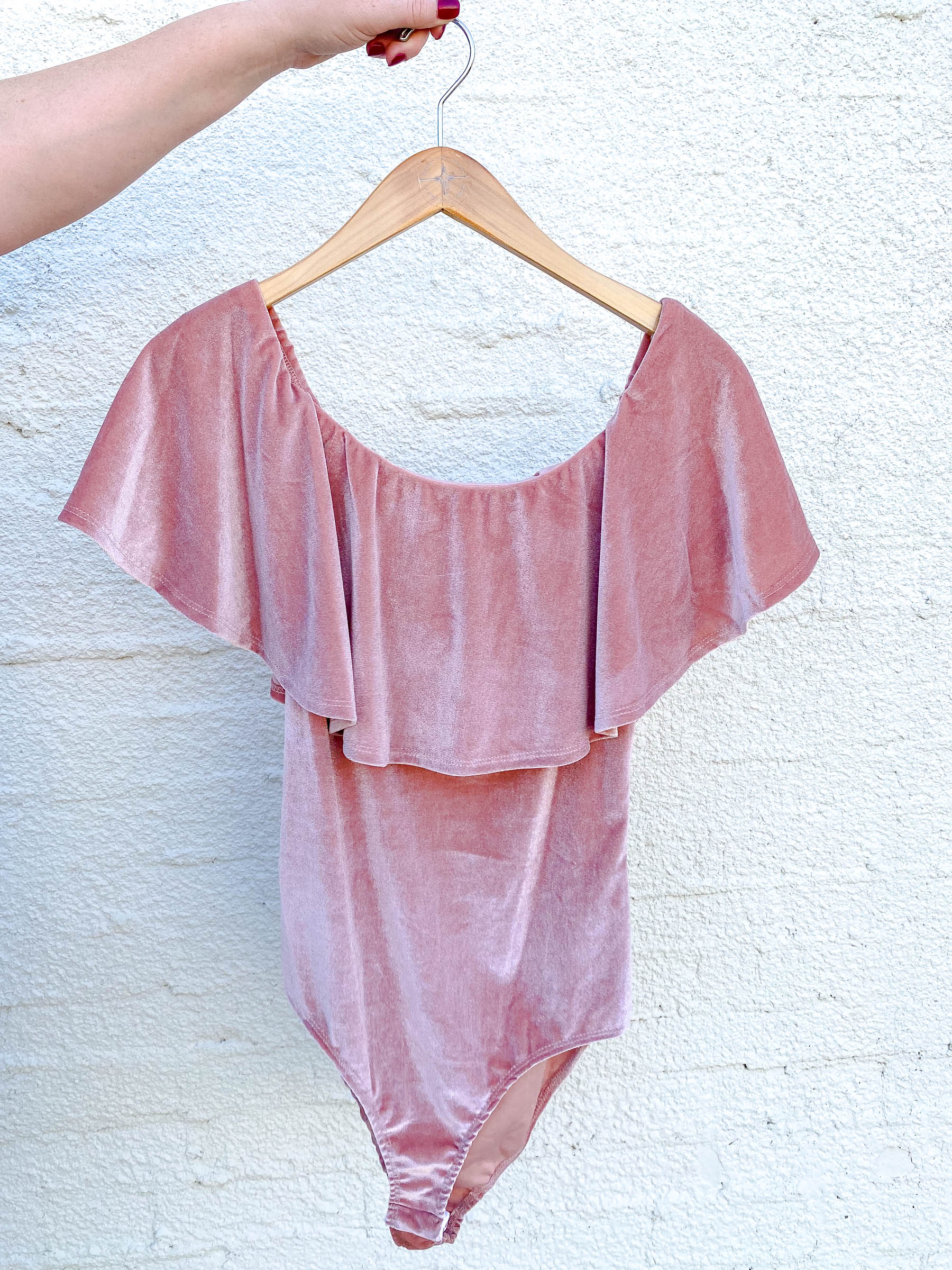 Dusty Rose Velvet Off the Shoulder Bodysuit