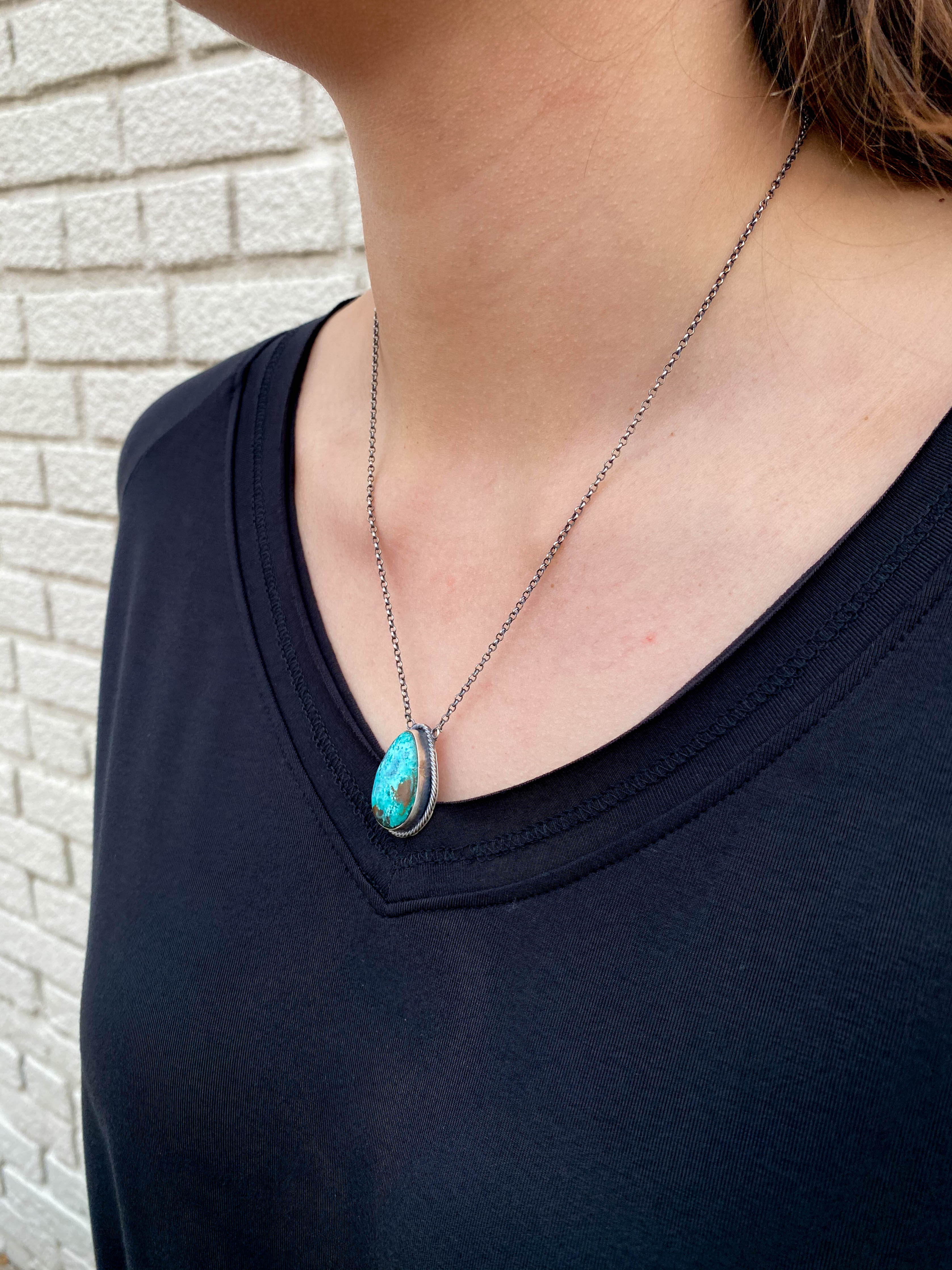 Dainty Chain Necklace , Teardrop Rope Turquoise #1