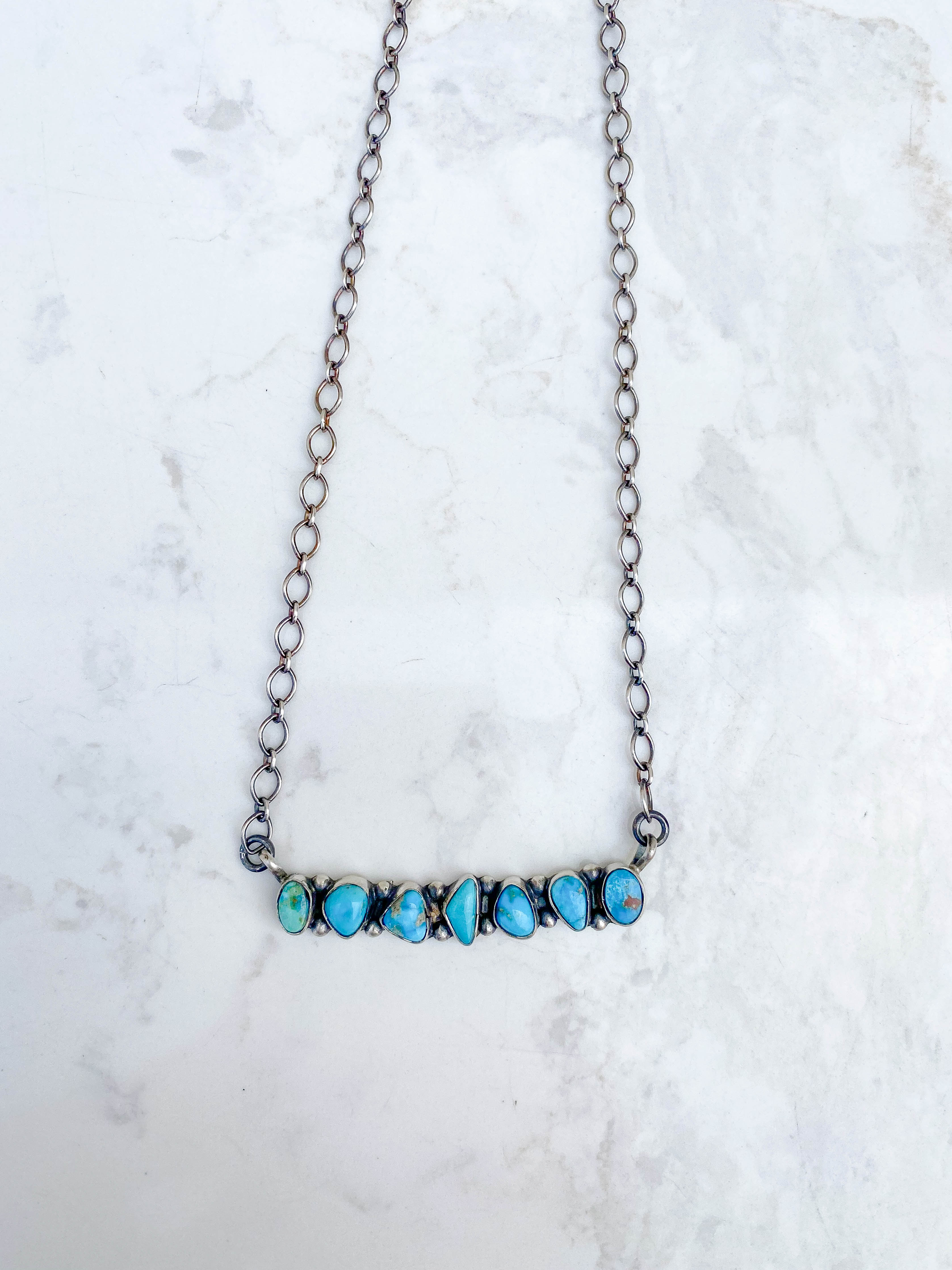 7 Stone Turquoise Bar Necklaces
