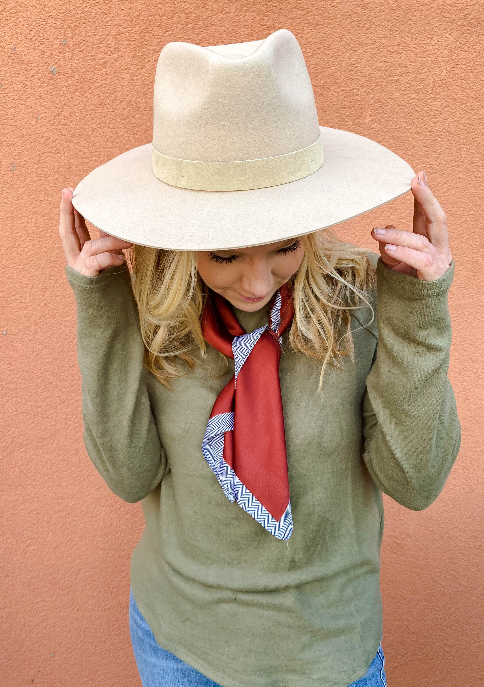 Tan Structured Wool Hat