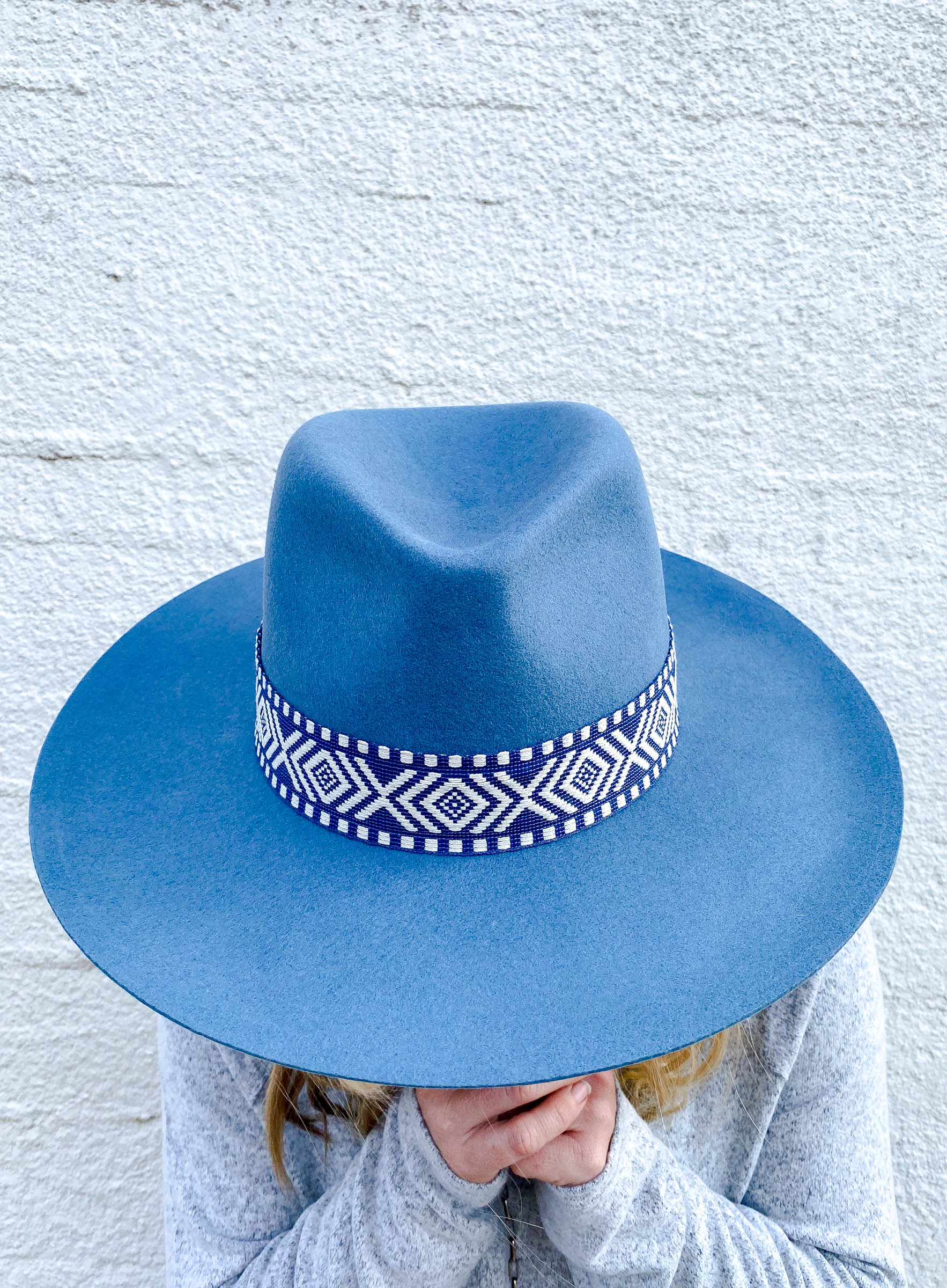 Powder Blue Fedora with Tribal Band