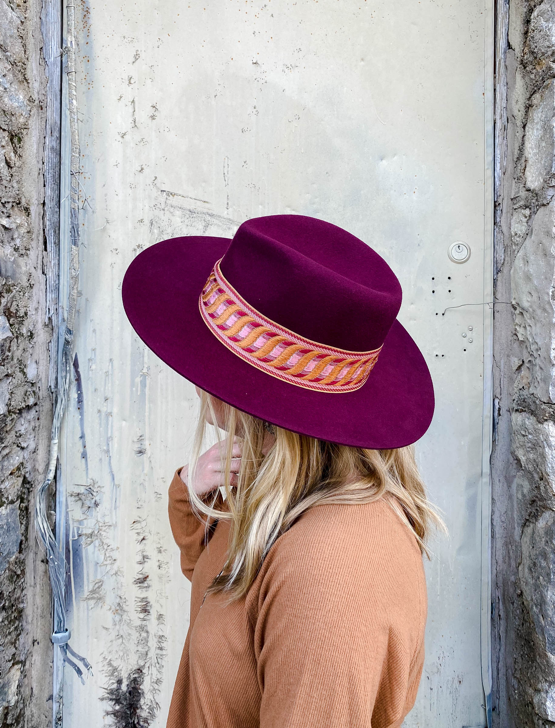 Burgundy Fedora Hat with Tribal Band