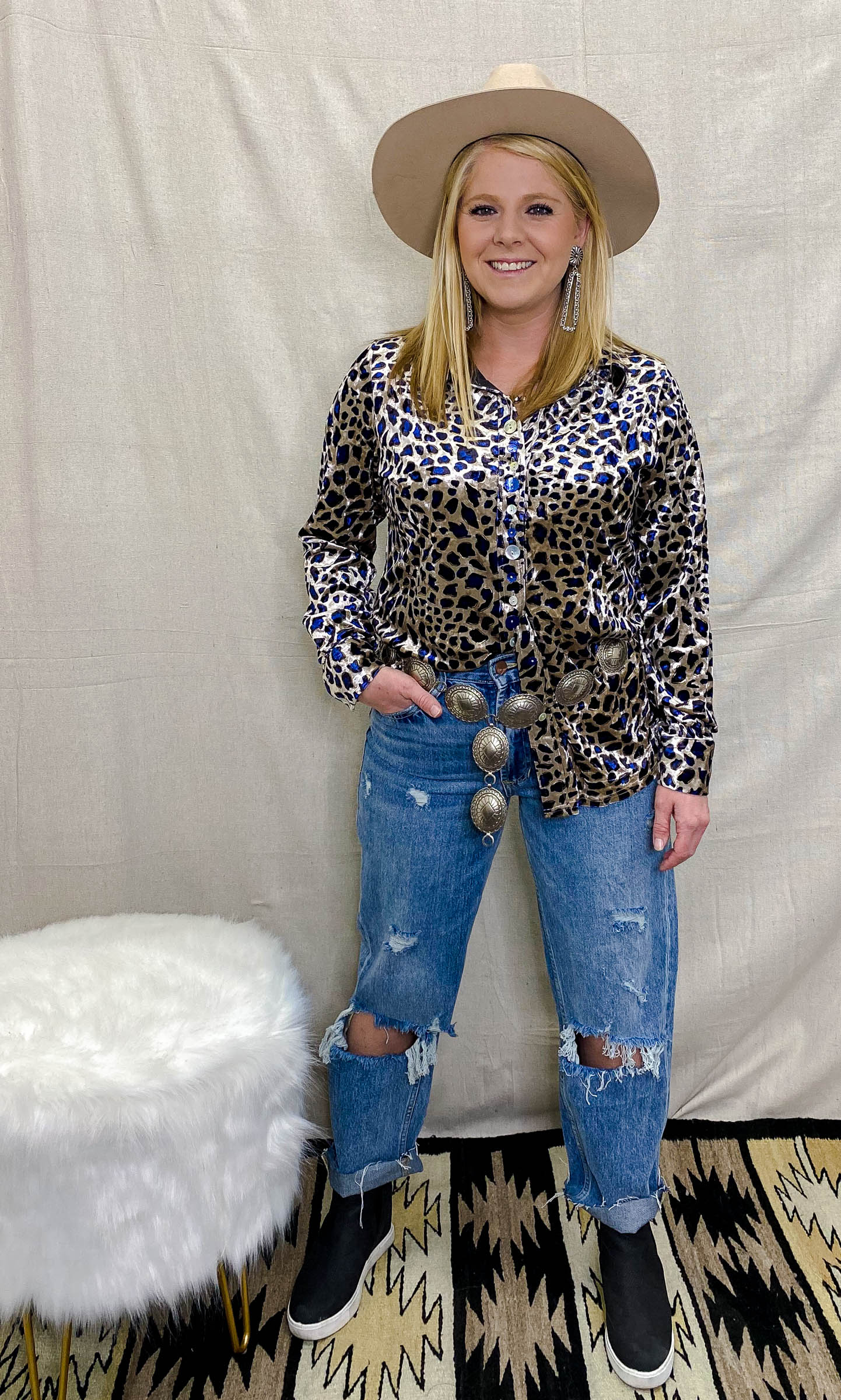 Leopard Velvet Collared Button Up