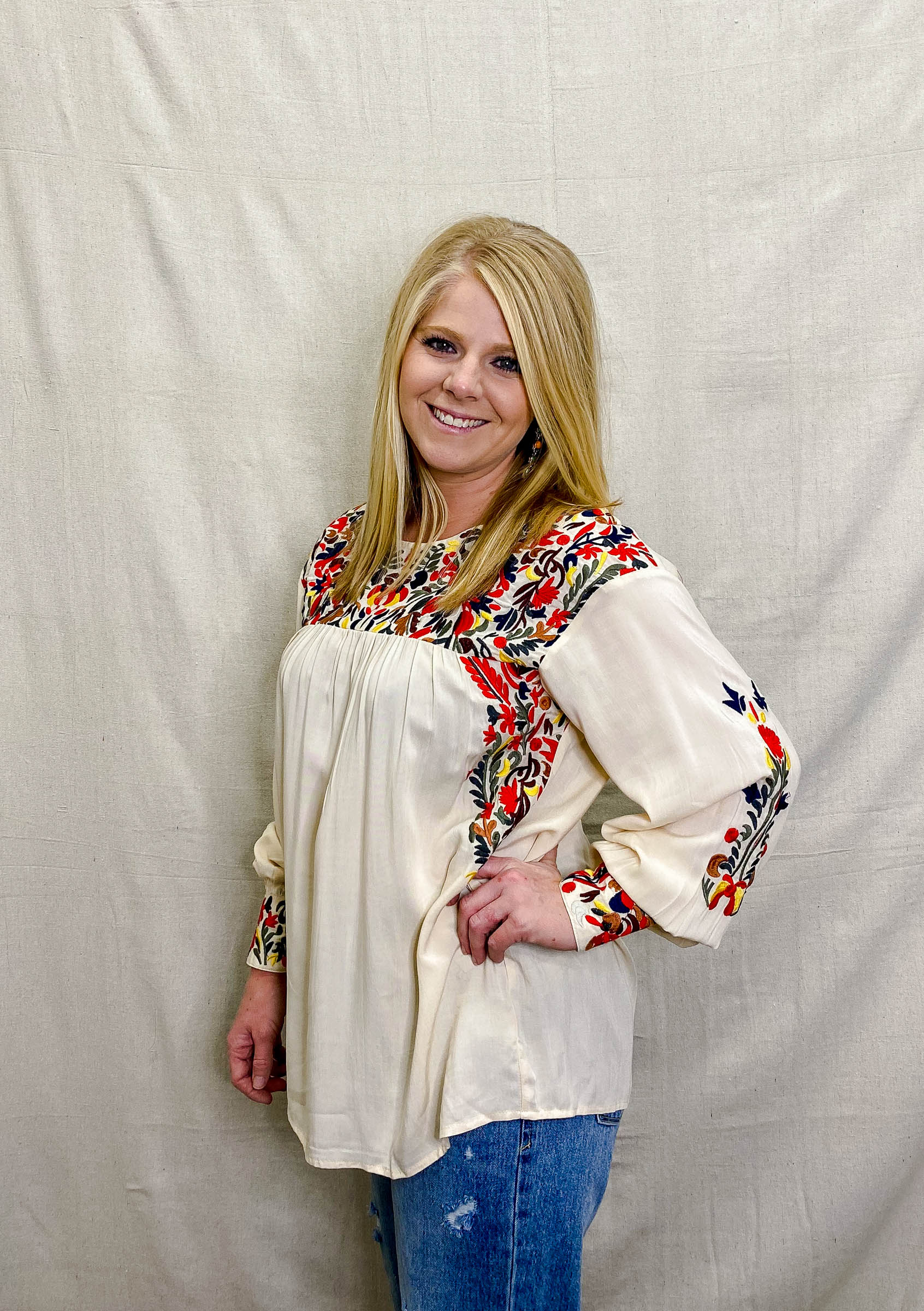 Taupe Fiesta Embroidered Blouse