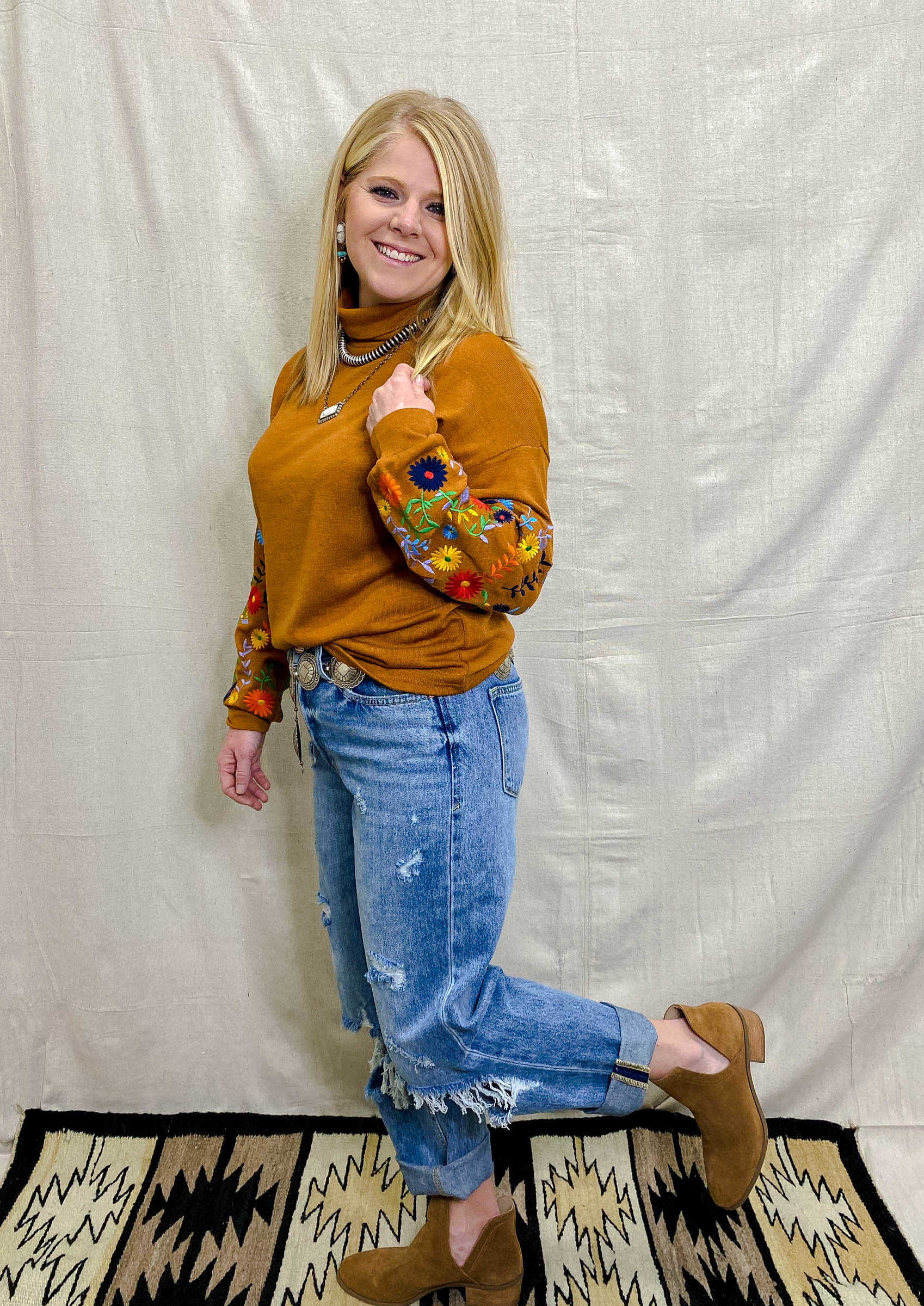 Rust High Neck Embroidered Blouse