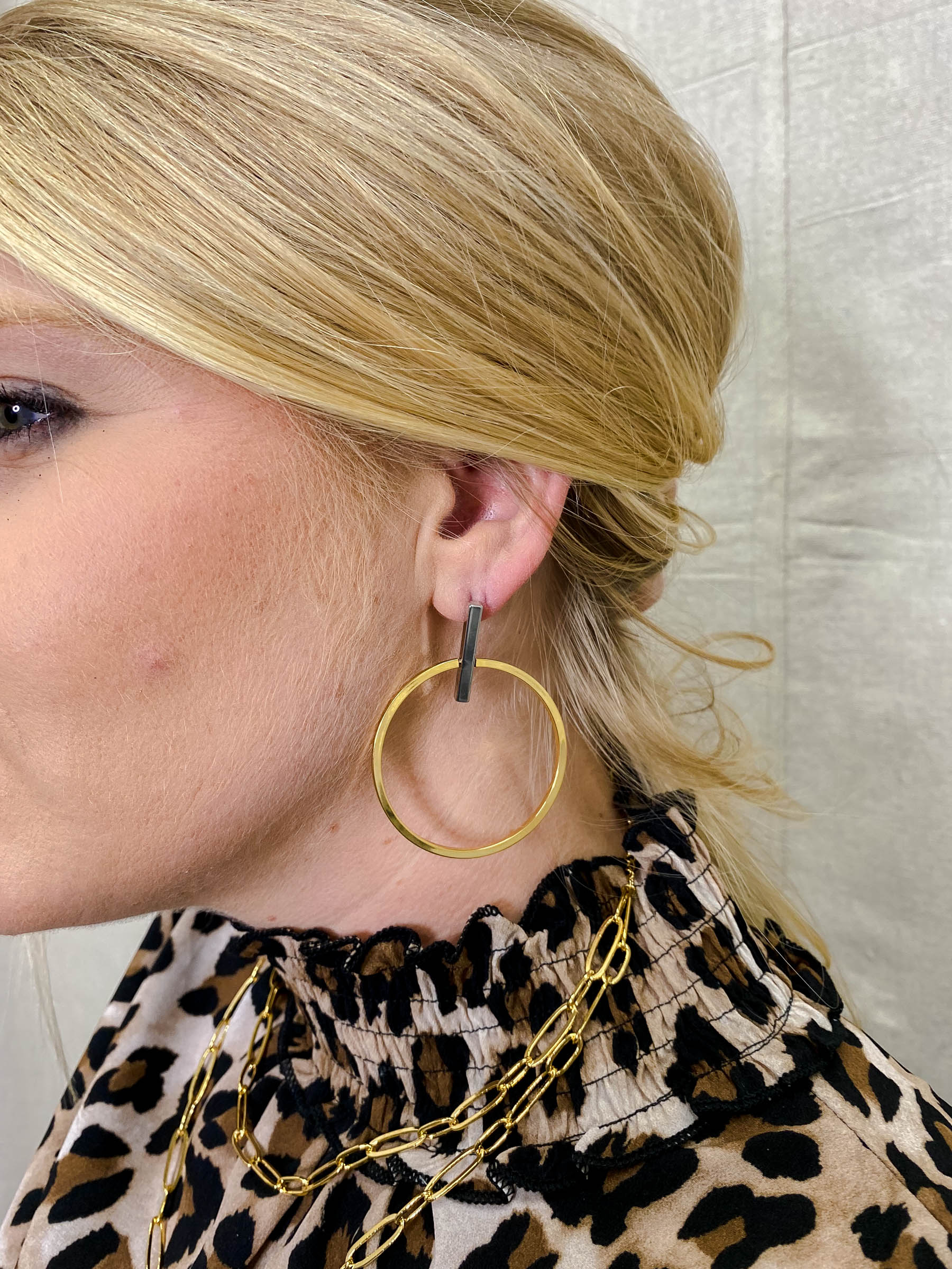 Gold Hoop Earring with Silver Bar