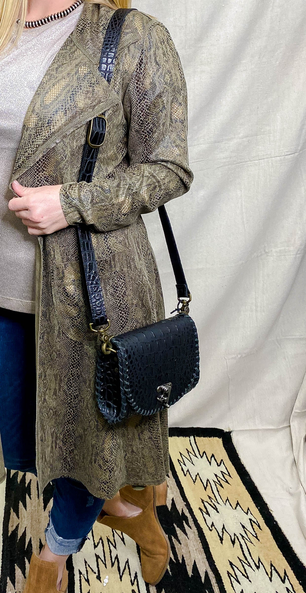 Black Caiman Square Crossbody