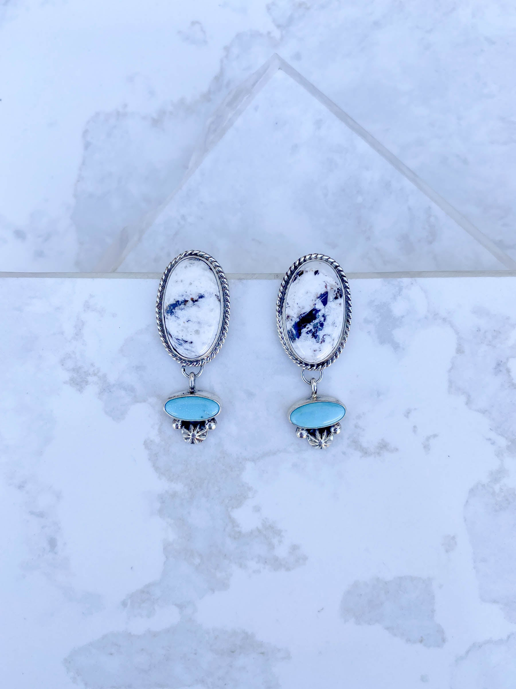 White Buffalo Turquosie Dangle Earring