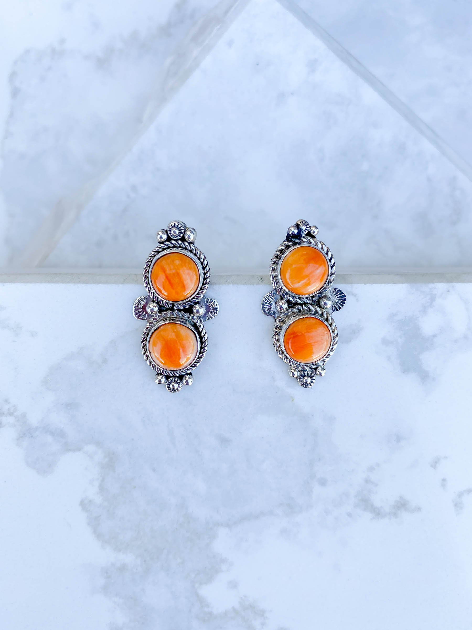 Orange Spiny Oyster Duo Earring