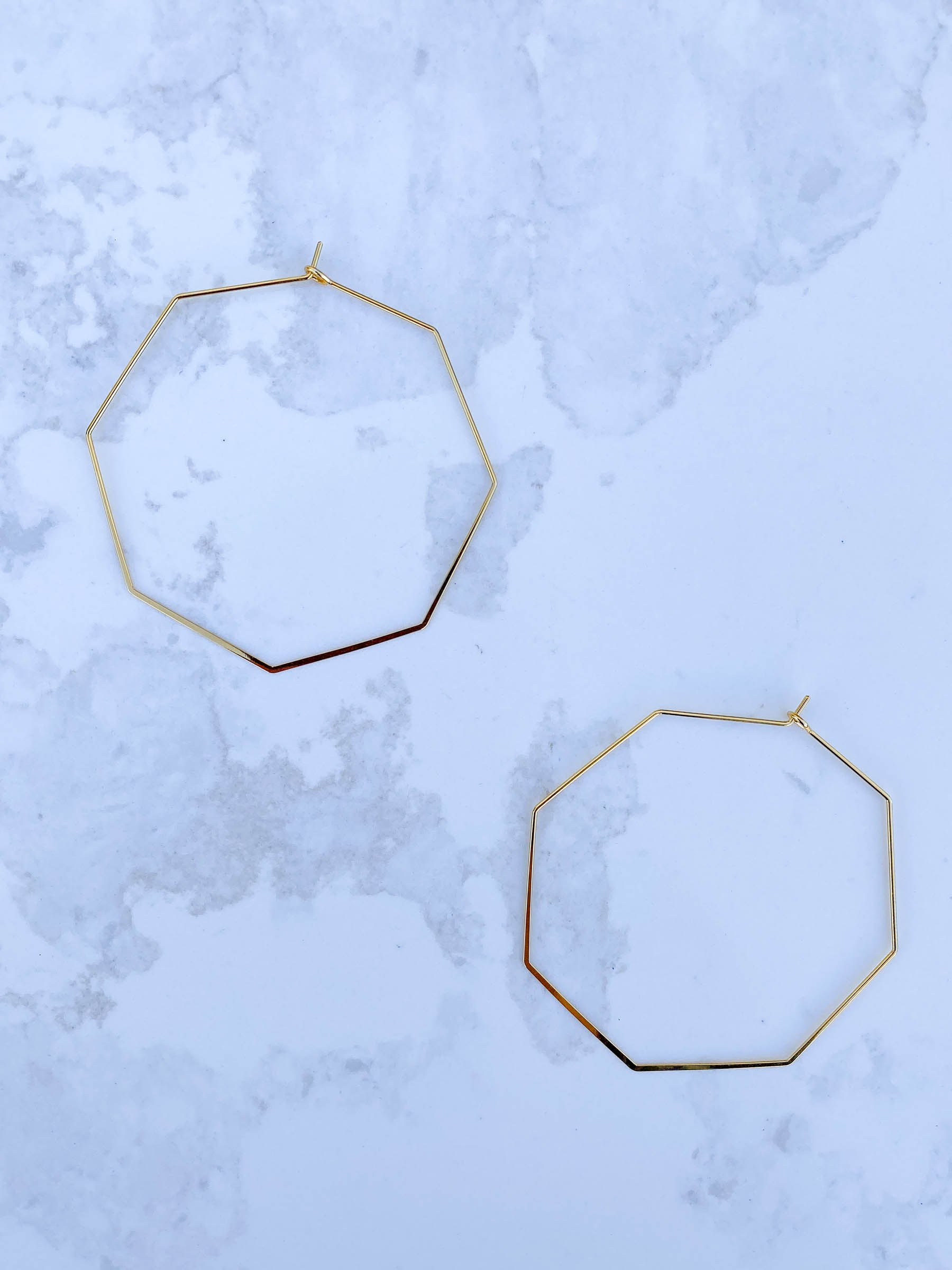 Gold Octagon Hoop Earring