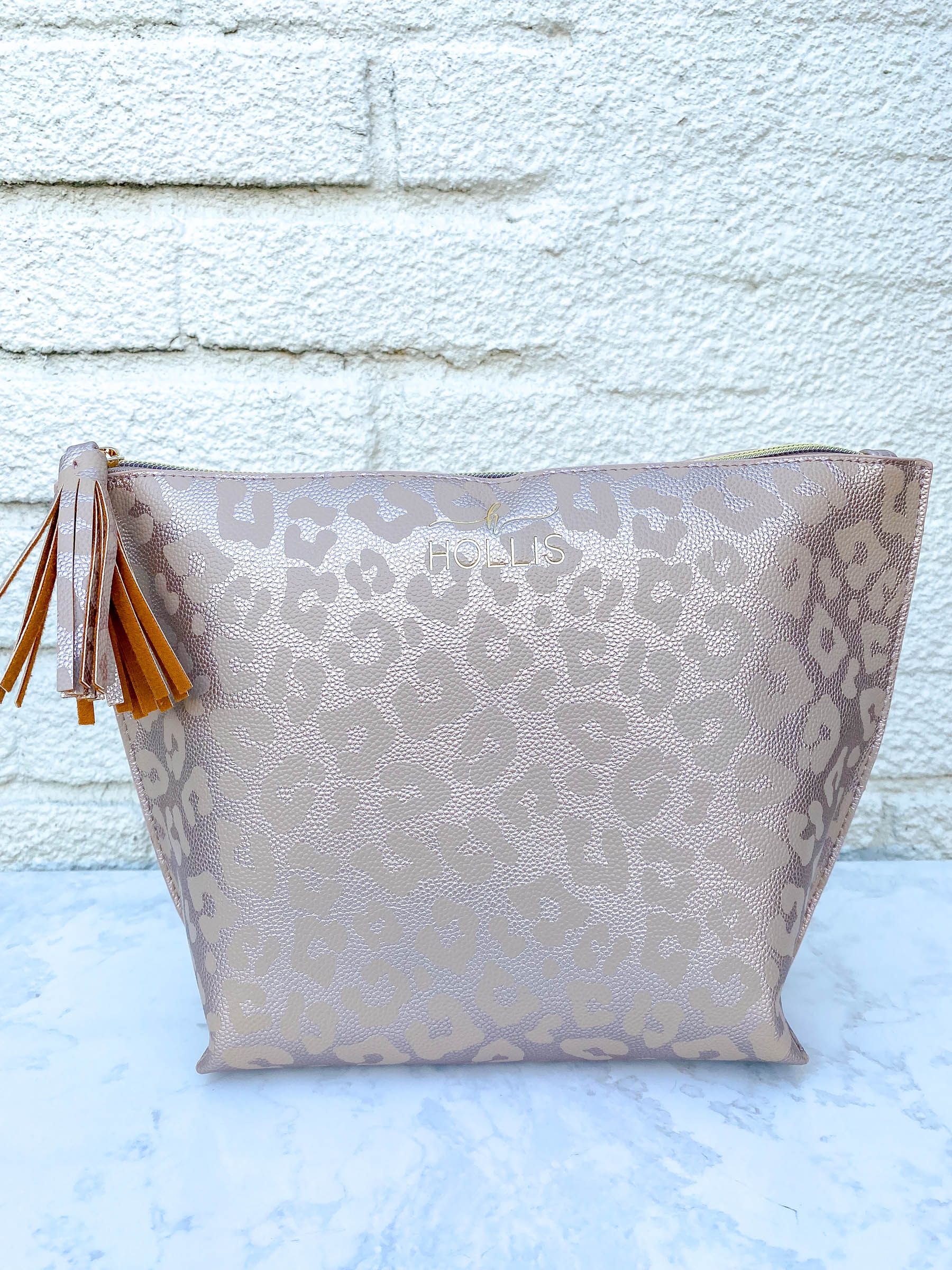 Rose Gold Leopard Deep Accessory Pouch