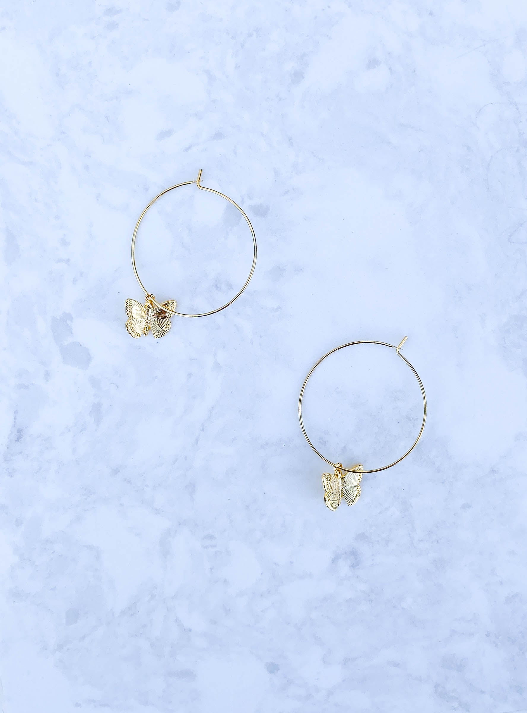 Gold Hoops with Butterfly Charm
