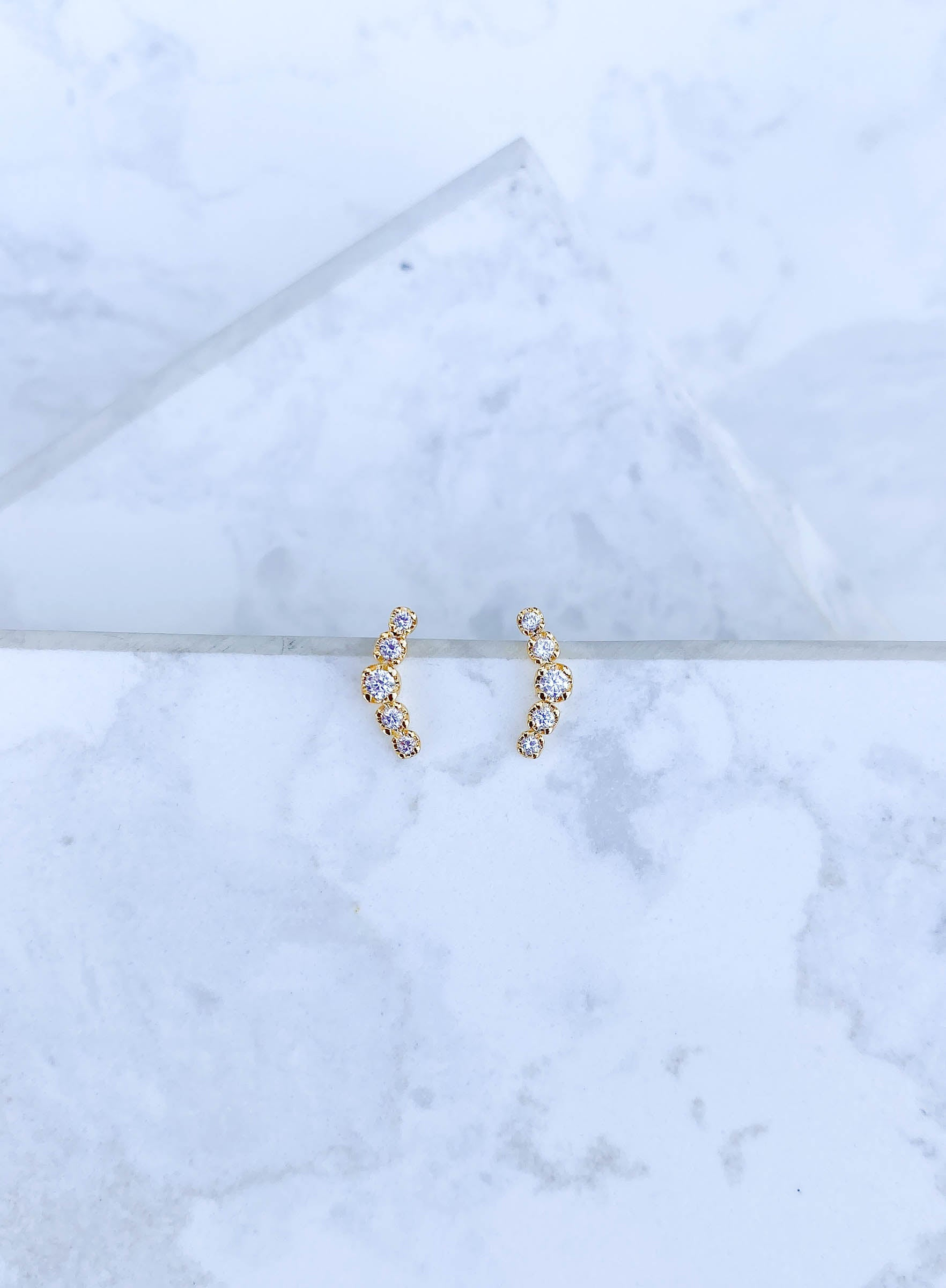 Gold Sparkle Curved Climber Earring