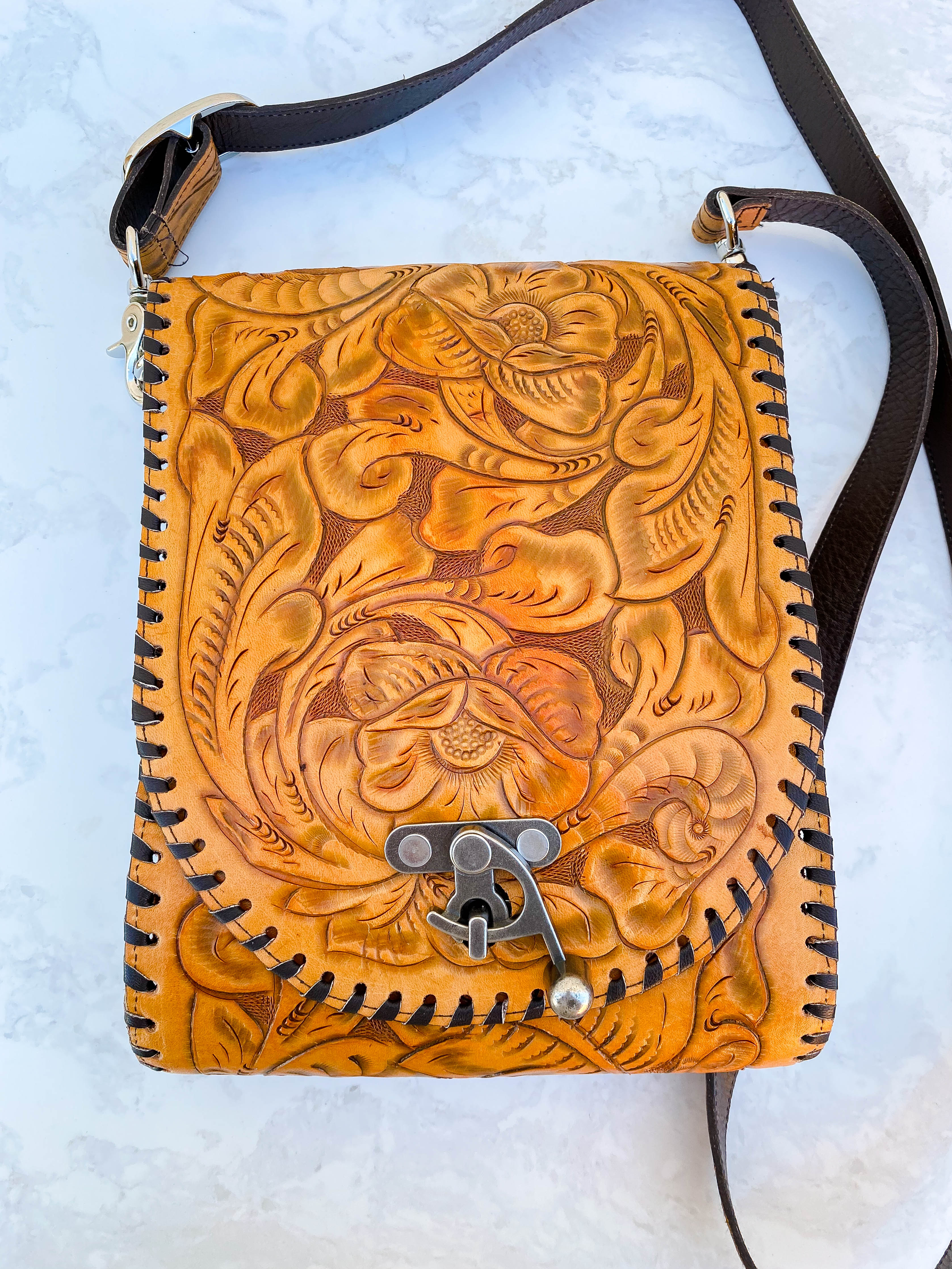 Tan Tooled Correo Crossbody Bag