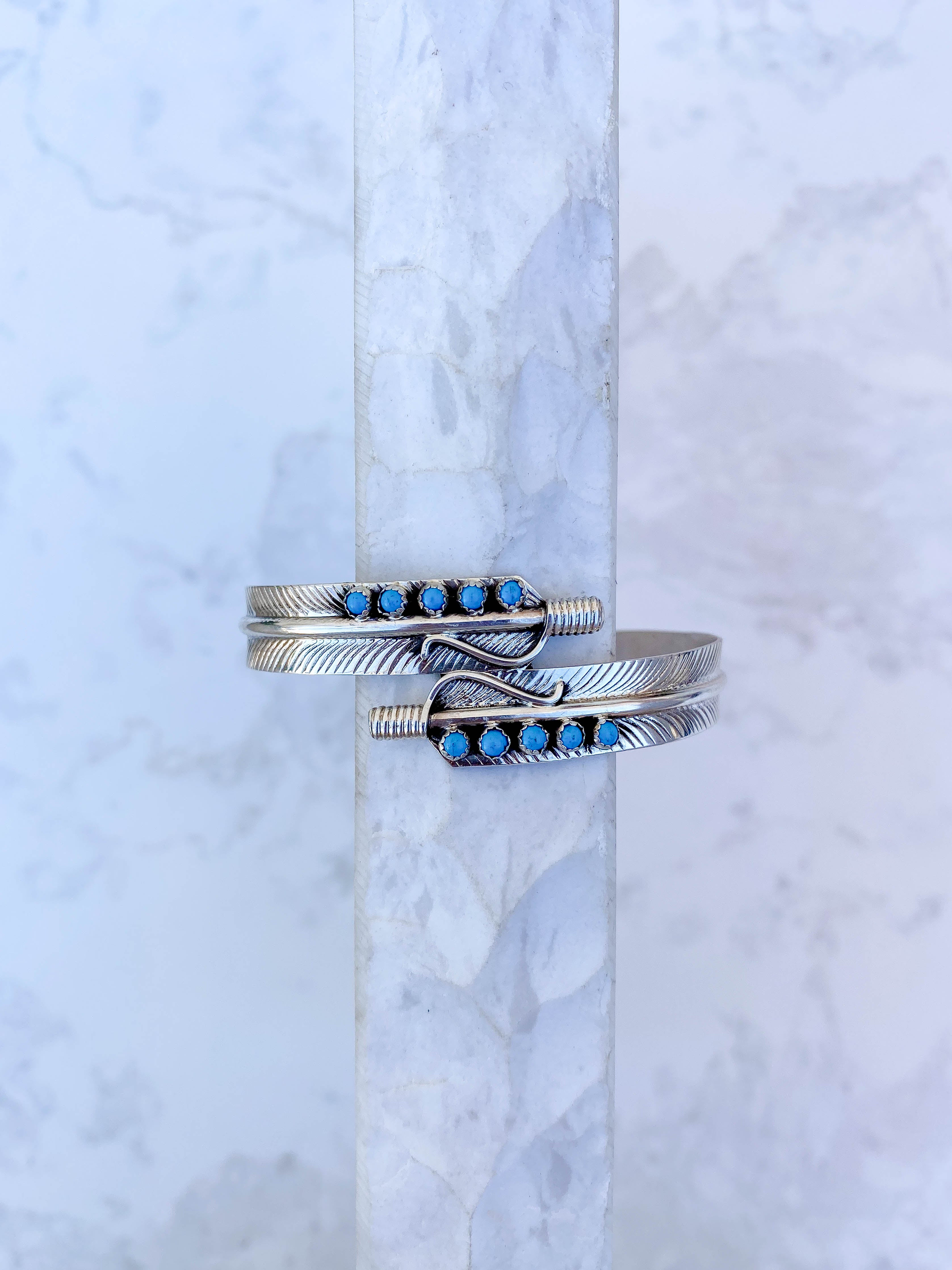 Double Feather Turquoise Cuff