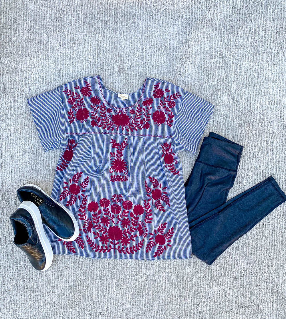 Maroon and Pinstripe Embroidered Top