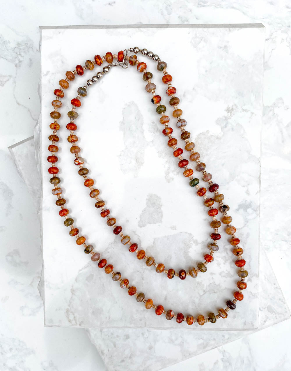 Multi Colored Agate Bead Necklace 38in