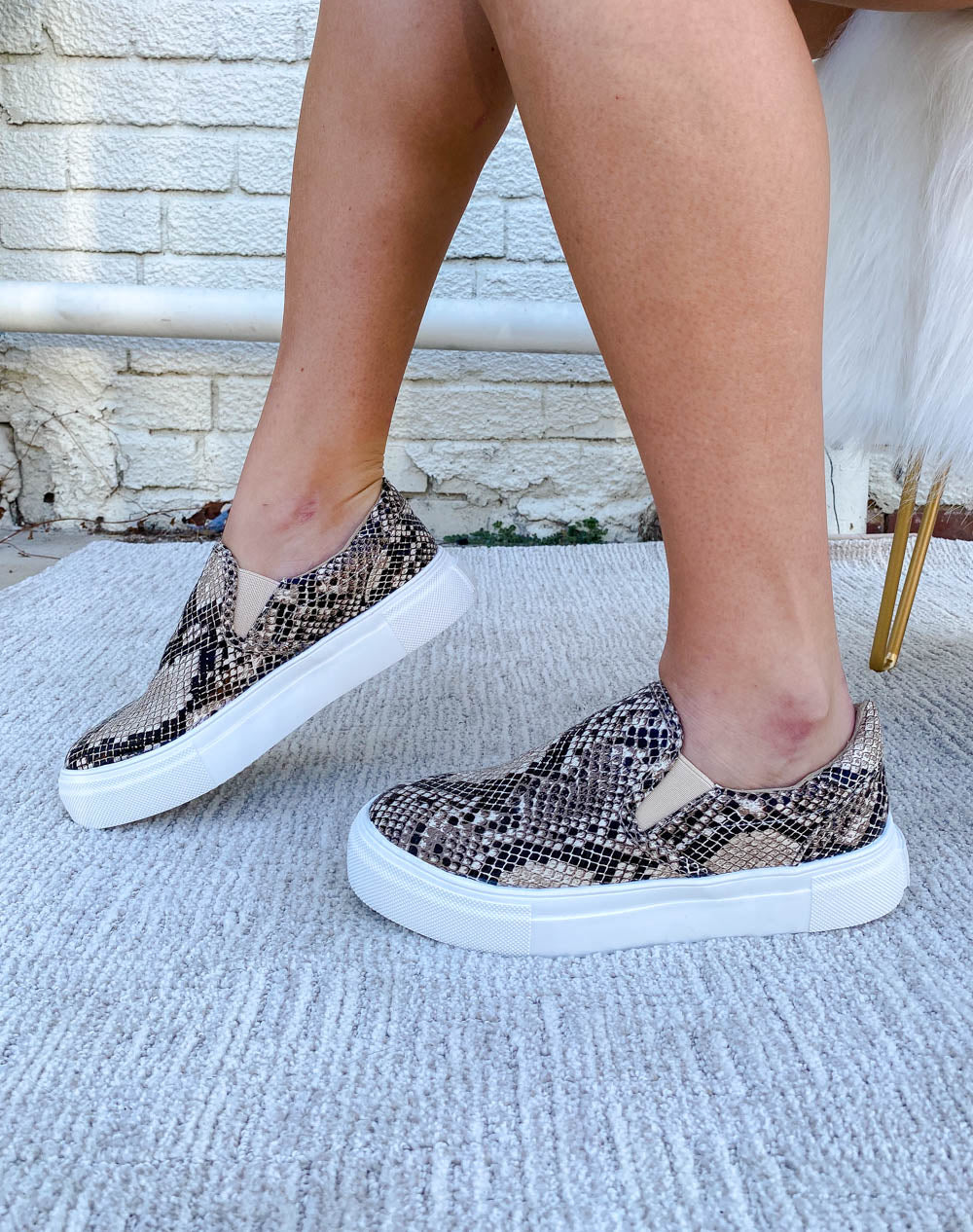 Natural Snake Platform Slip On