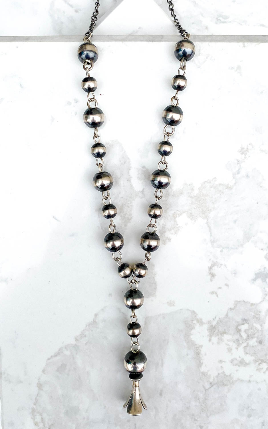 Navajo Pearl Blossom Drop Necklace