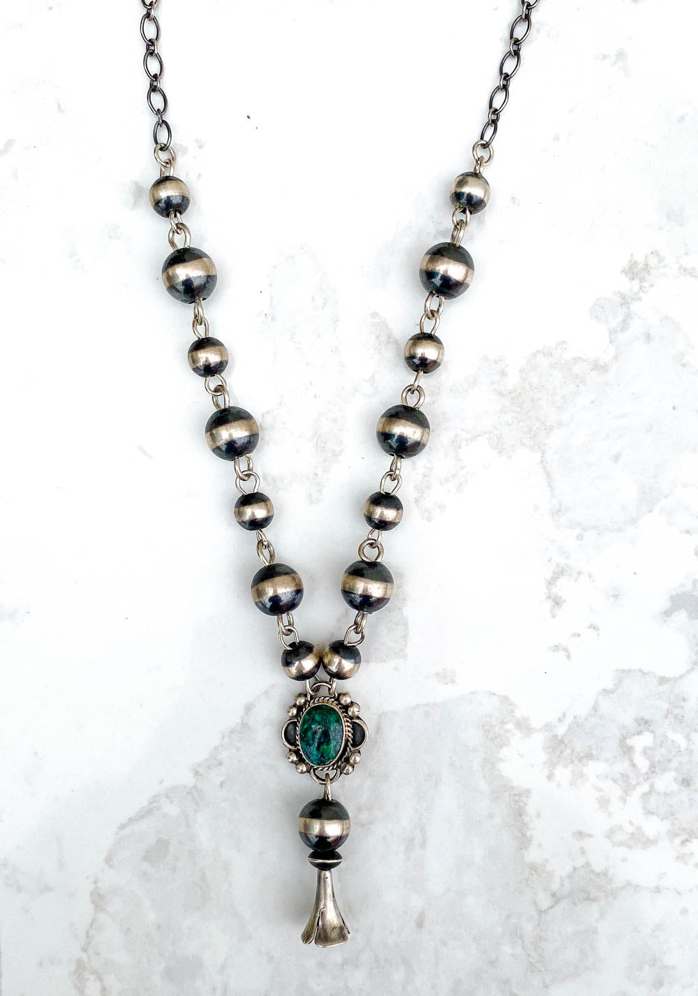 Navajo Pearl Green Turquoise Blossom Drop Necklace