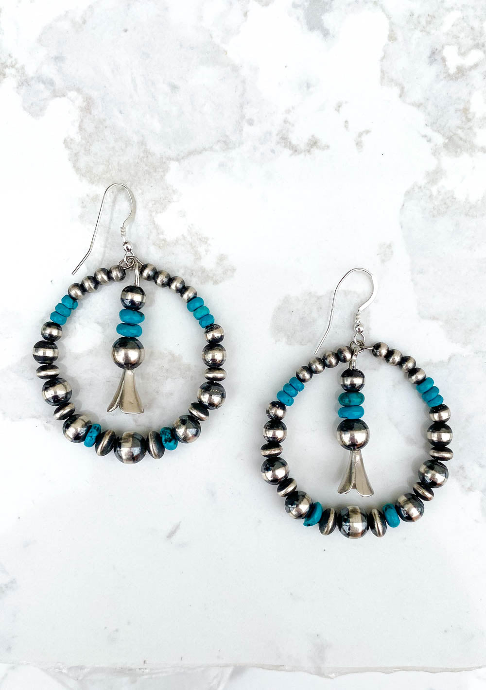 Navajo Pearl and Turquoise Hoops Earrings with a Blossom Drop