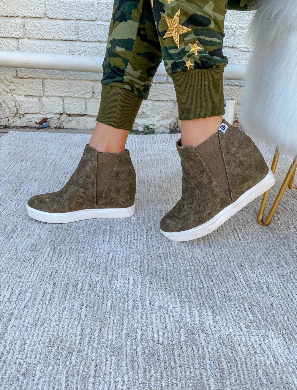 Olive Hidden Wedge Sneaker