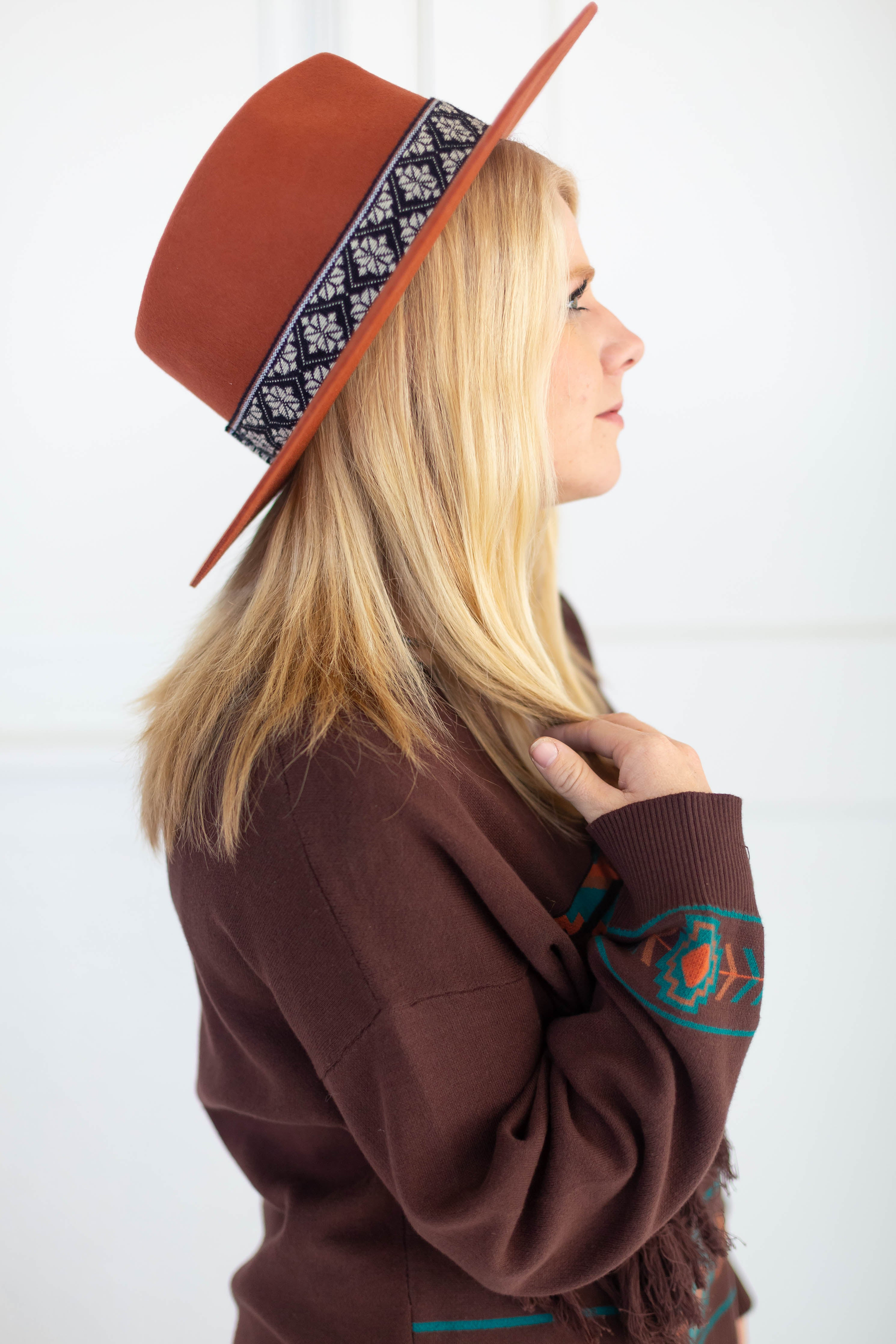 Rust Fedora Hat with Tribal Band