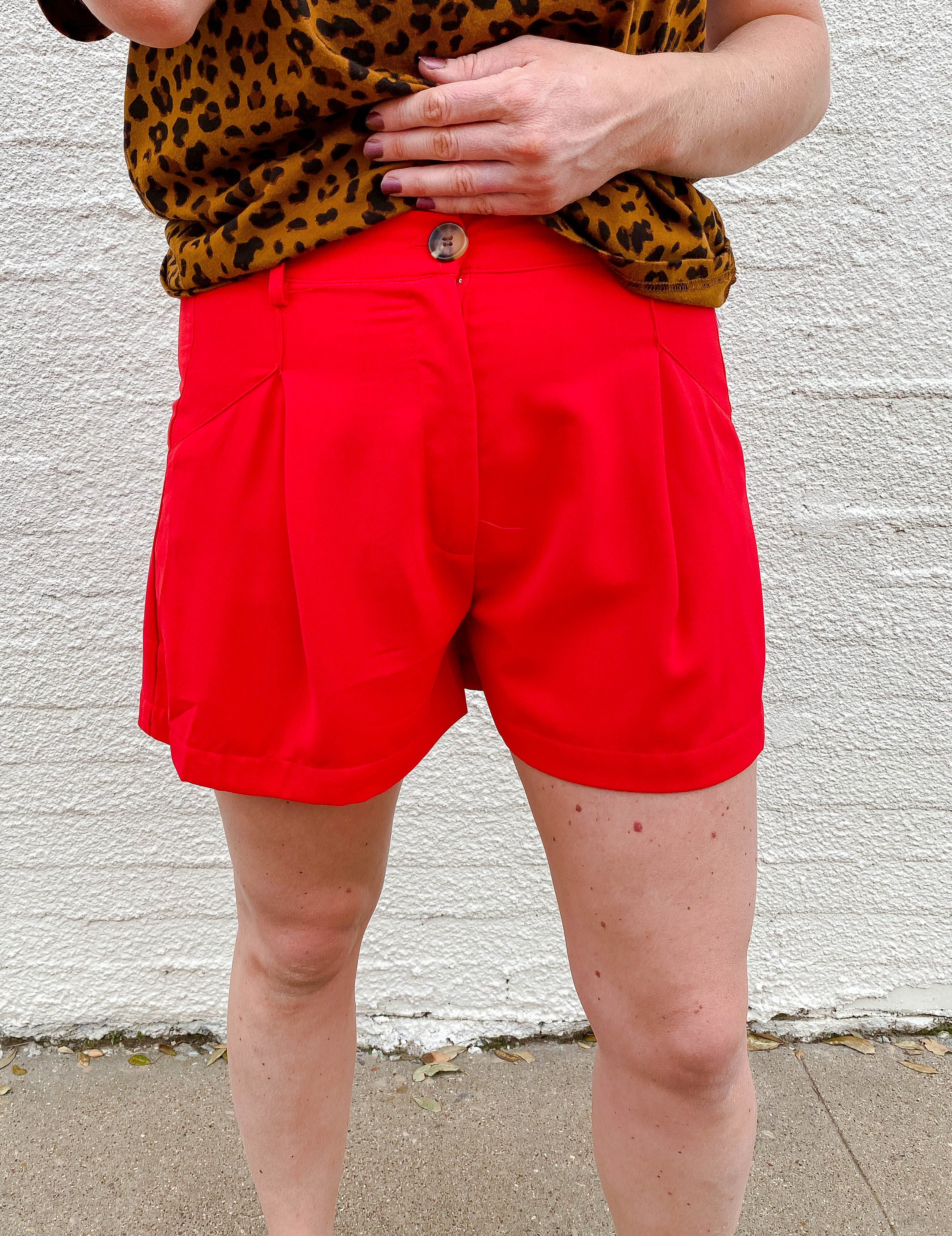 Red High Waisted Shorts
