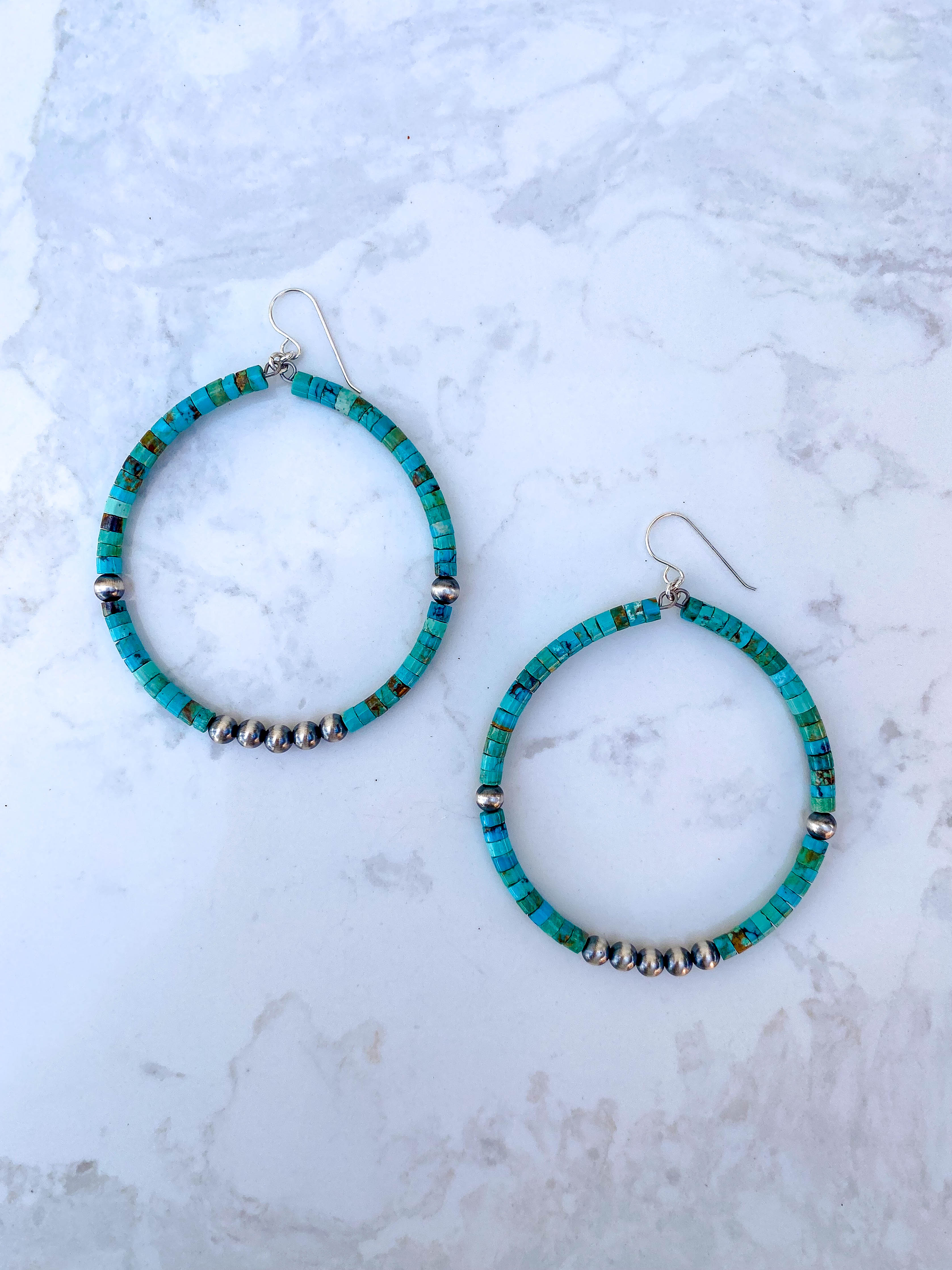 Rolled Turquoise and Navajo Pearl , 2 inch hoop