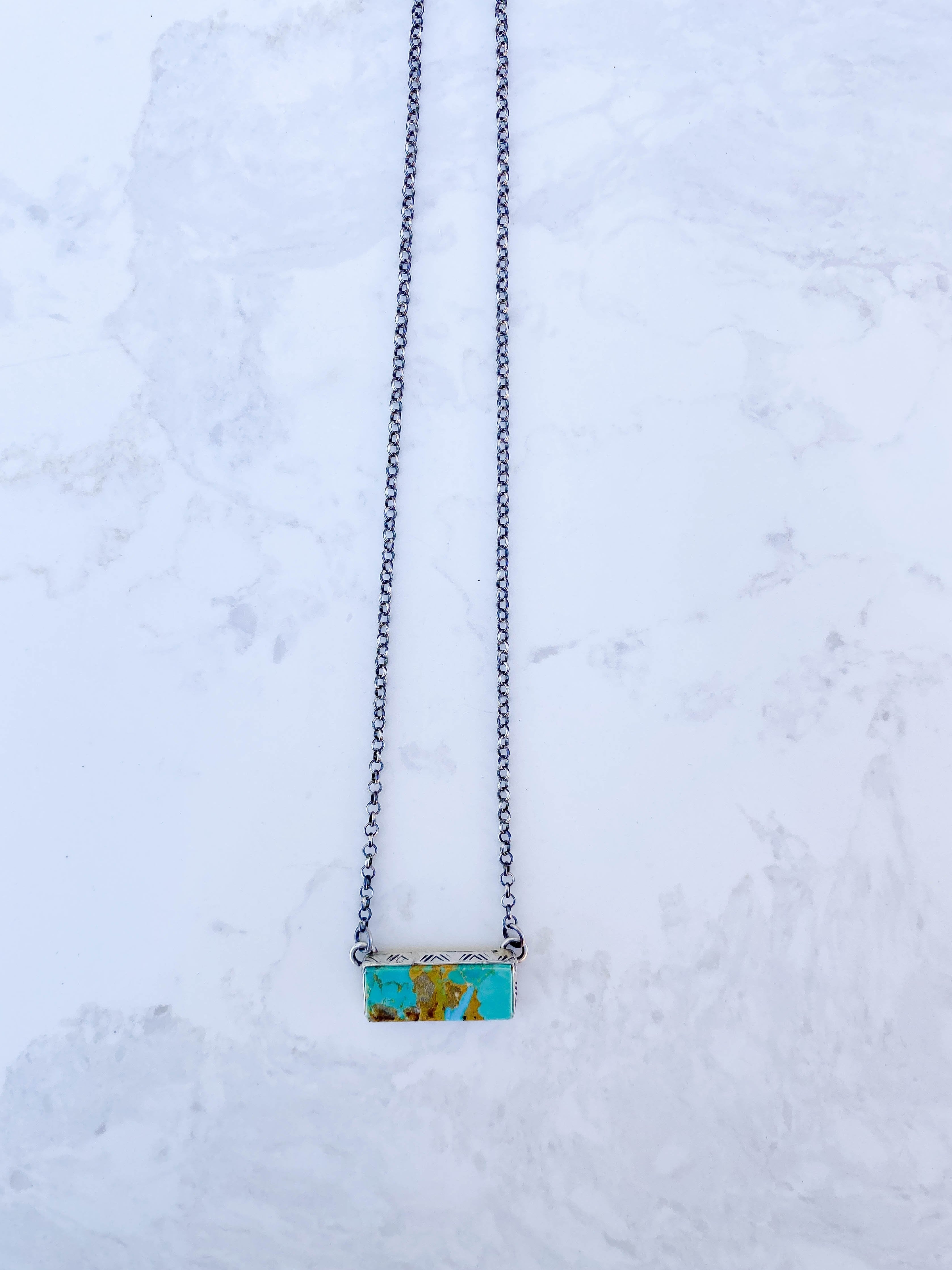 Stamped Bar Neckalce, Turquoise Diamond Stamp #3